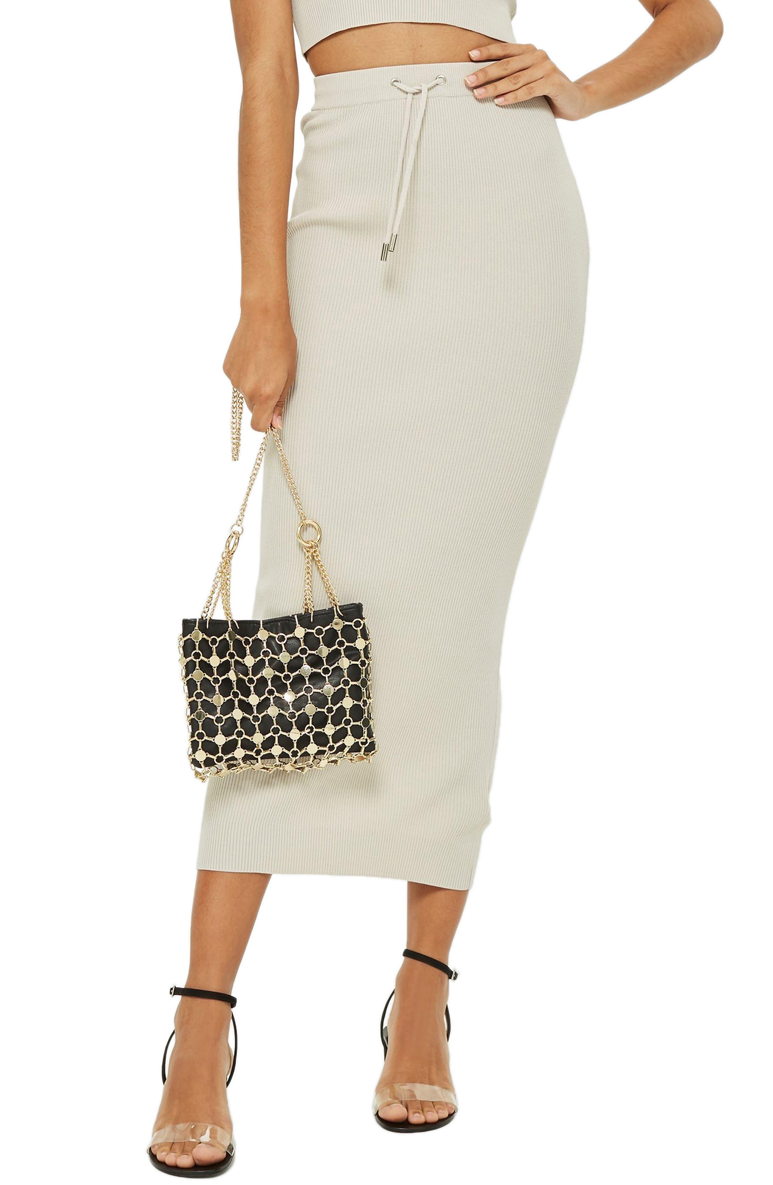 Topshop Ribbed Tube Skirt