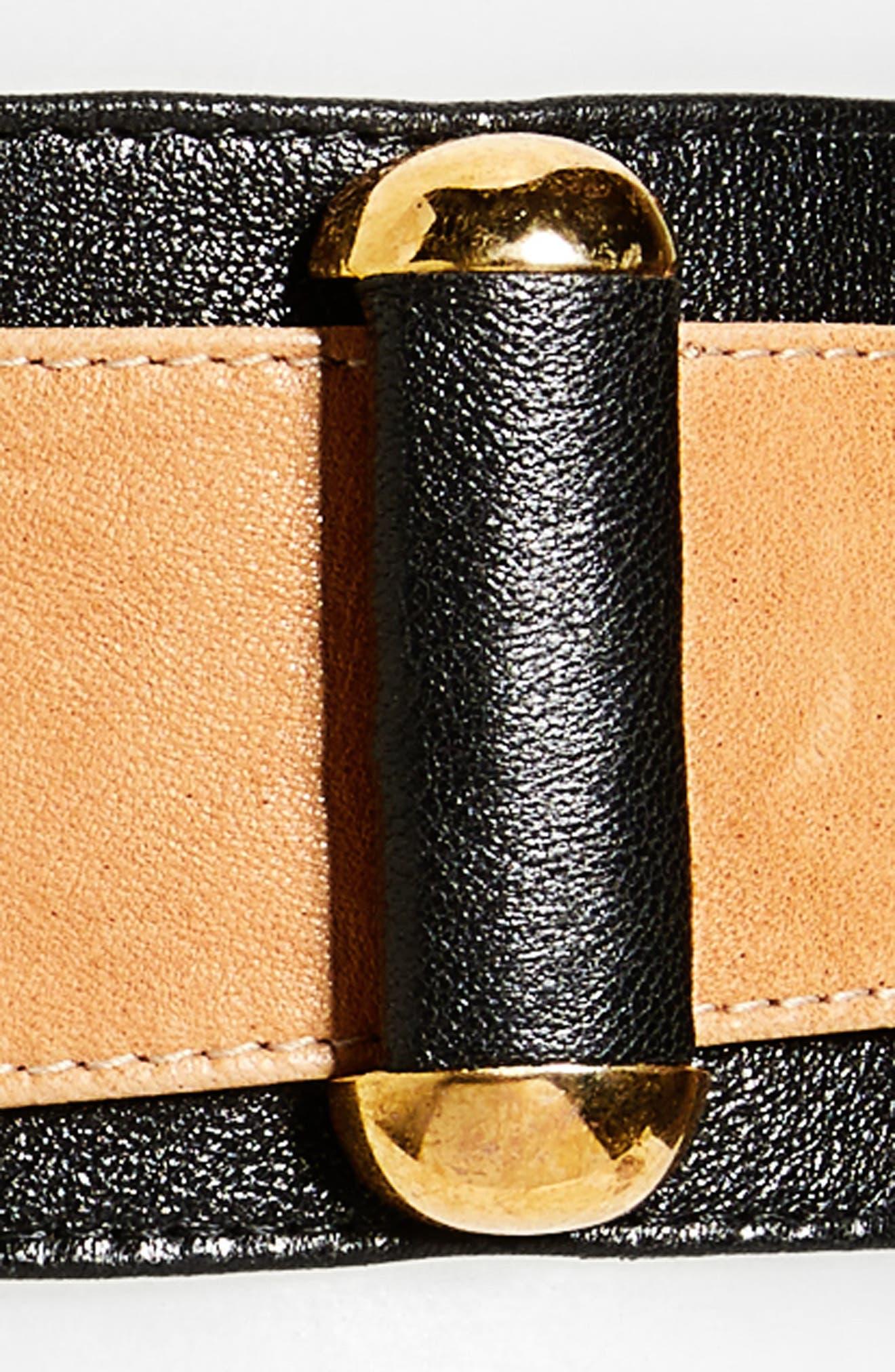 RAINA,                             Vixen Leather Belt,                             Alternate thumbnail 3, color,                             BLACK/ BROWN