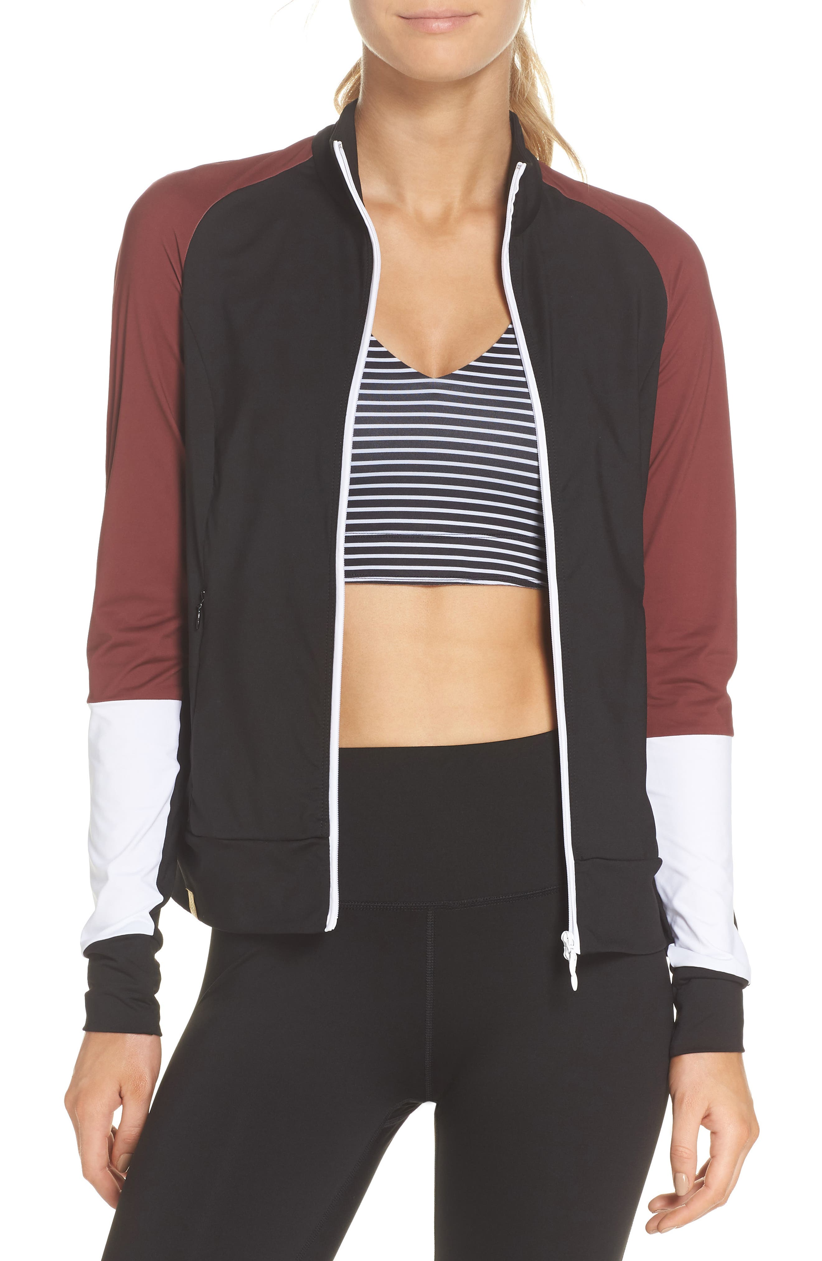 Featherweight Jacket,                         Main,                         color, BLACK/ COCOA/ WHITE