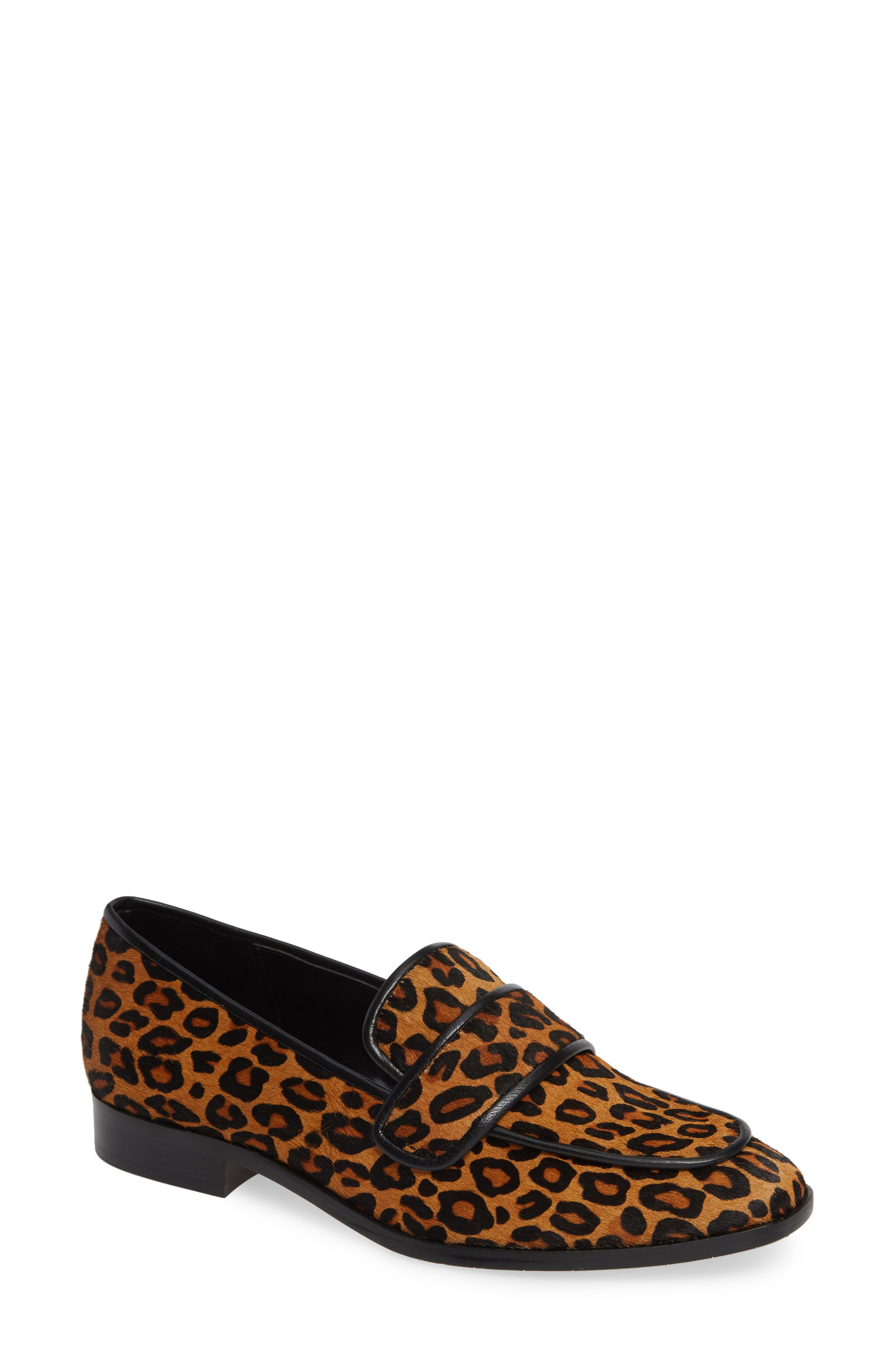 Loretta Flat Fur Loafers in Leopard Calf Hair