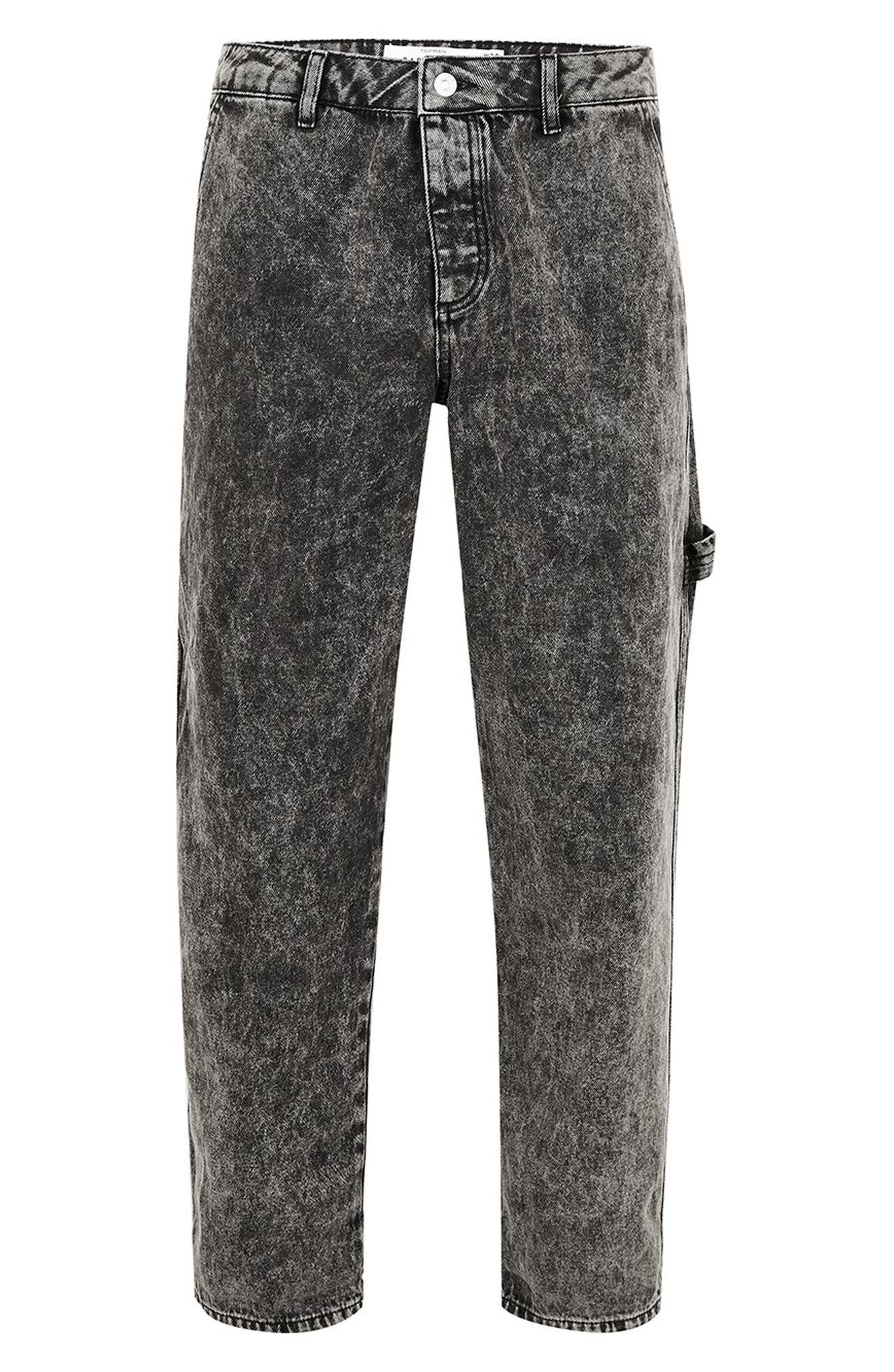 Acid Wash Classic Carpenter Jeans,                             Alternate thumbnail 5, color,                             GREY