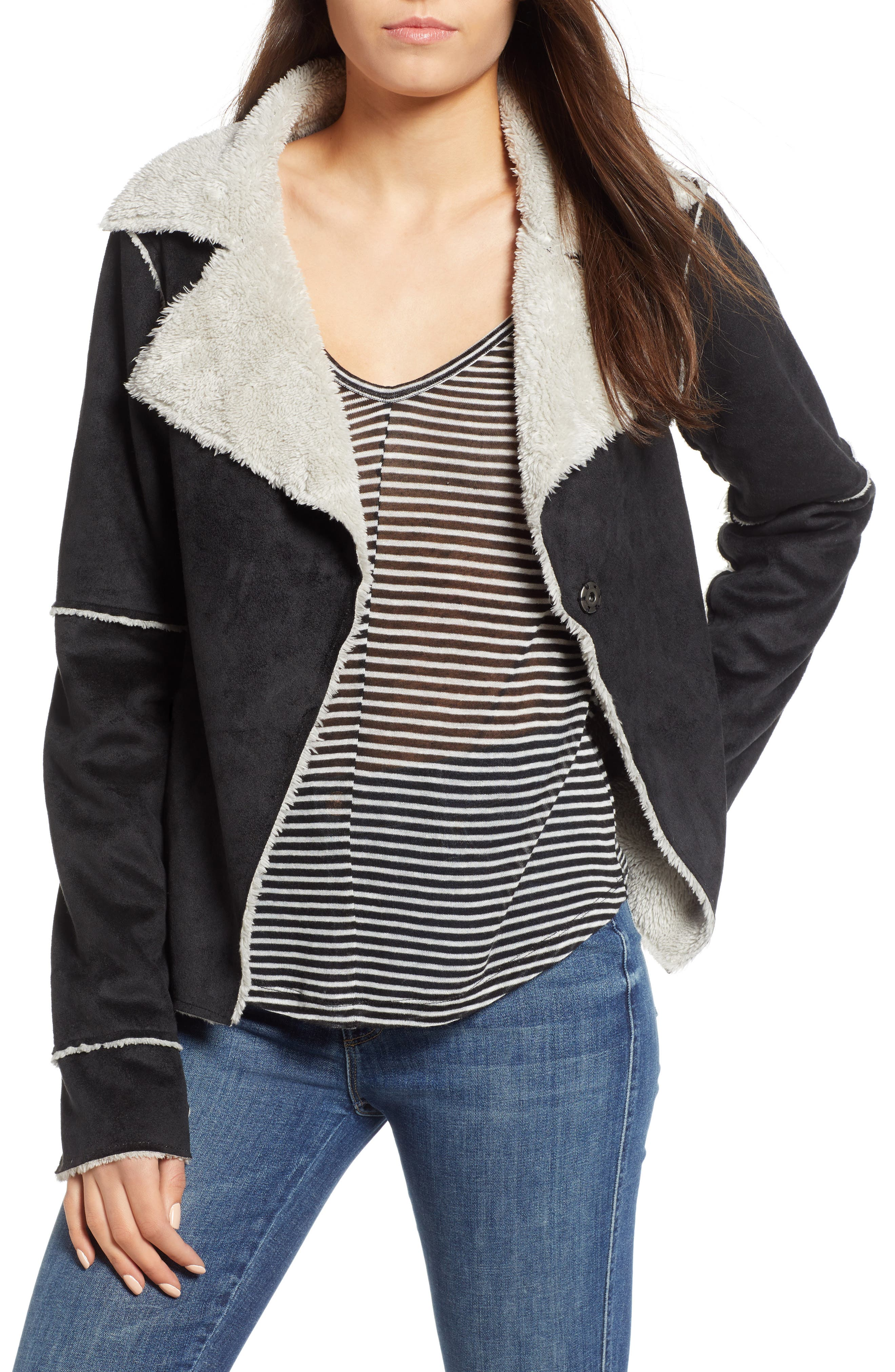 Faux Shearling Jacket, Main, color, 001