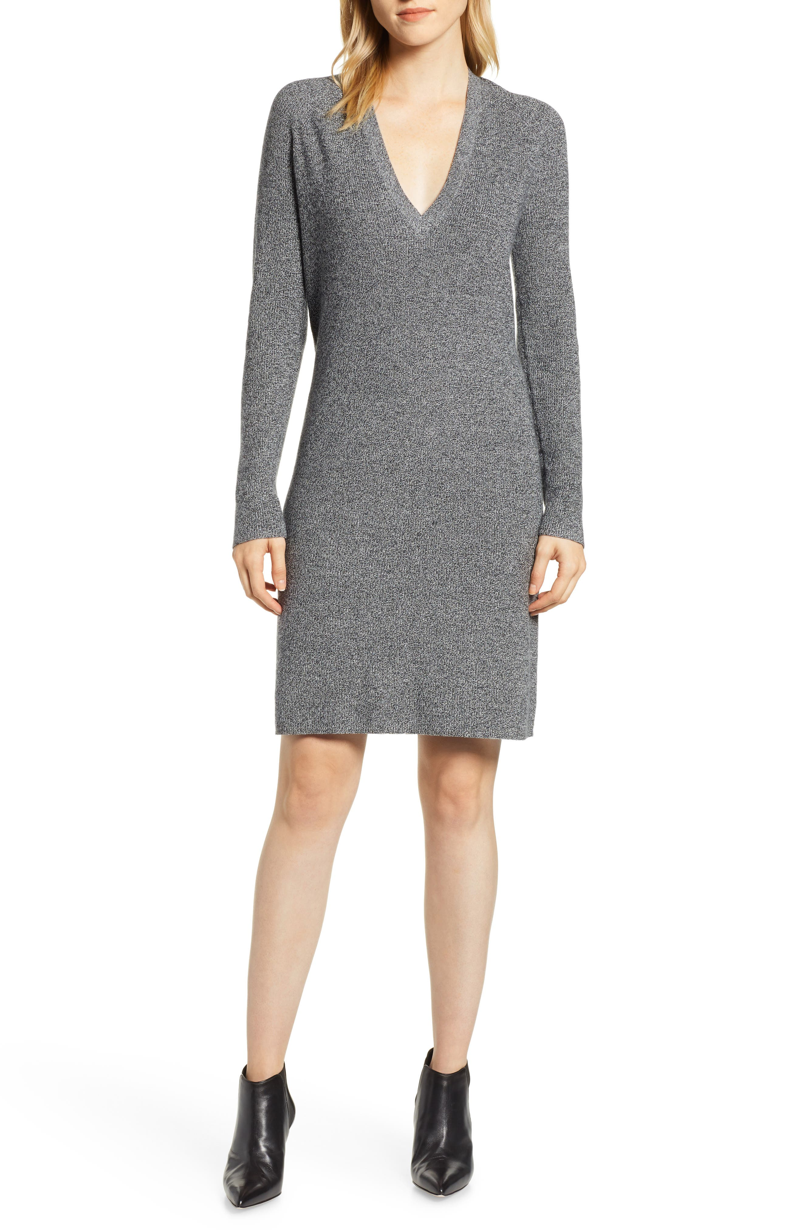 V-Neck Sweater Dress, Main, color, BLACK- WHITE MARL