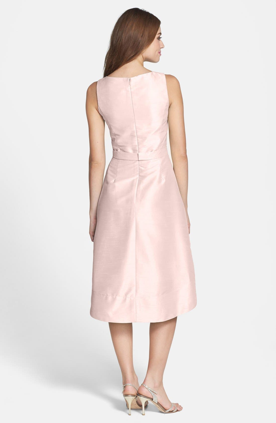 Satin High/Low Fit & Flare Dress,                             Alternate thumbnail 4, color,                             PEARL PINK