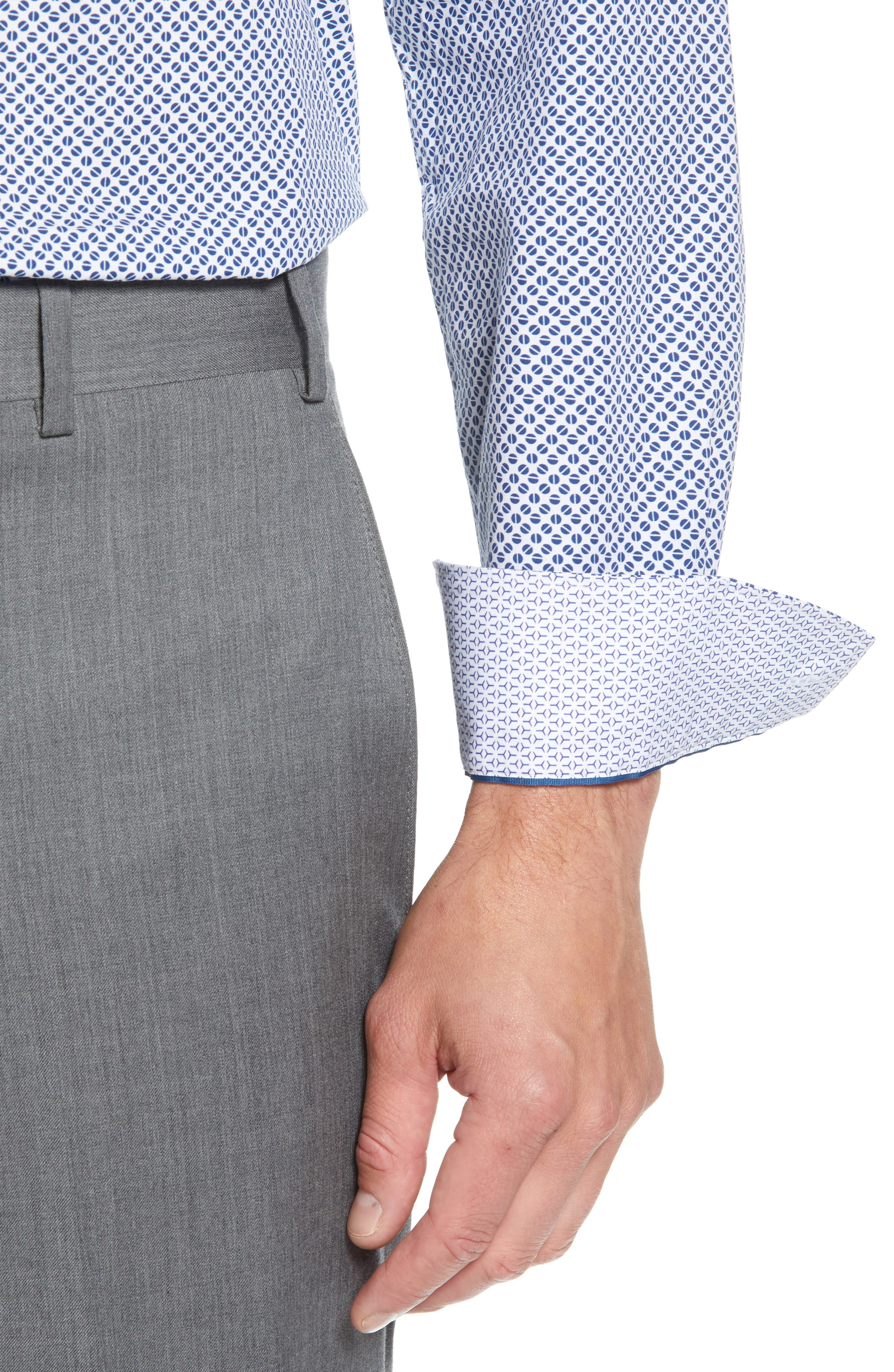 Maratha Trim Fit Print Dress Shirt,                             Alternate thumbnail 2, color,                             WHITE/ BLUE
