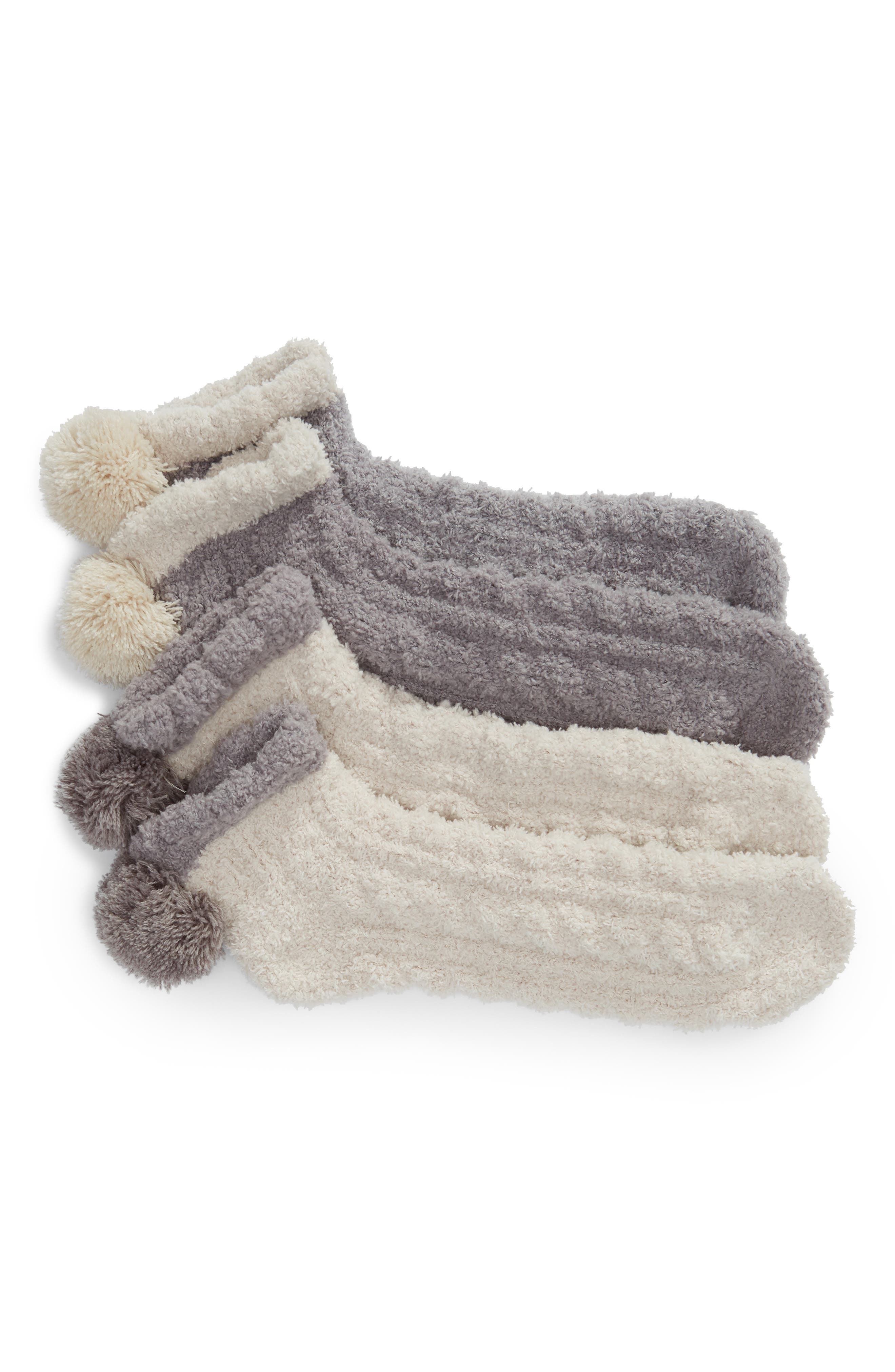 2-Pack Pom Pom No-Show Socks,                             Main thumbnail 1, color,                             SHADOW