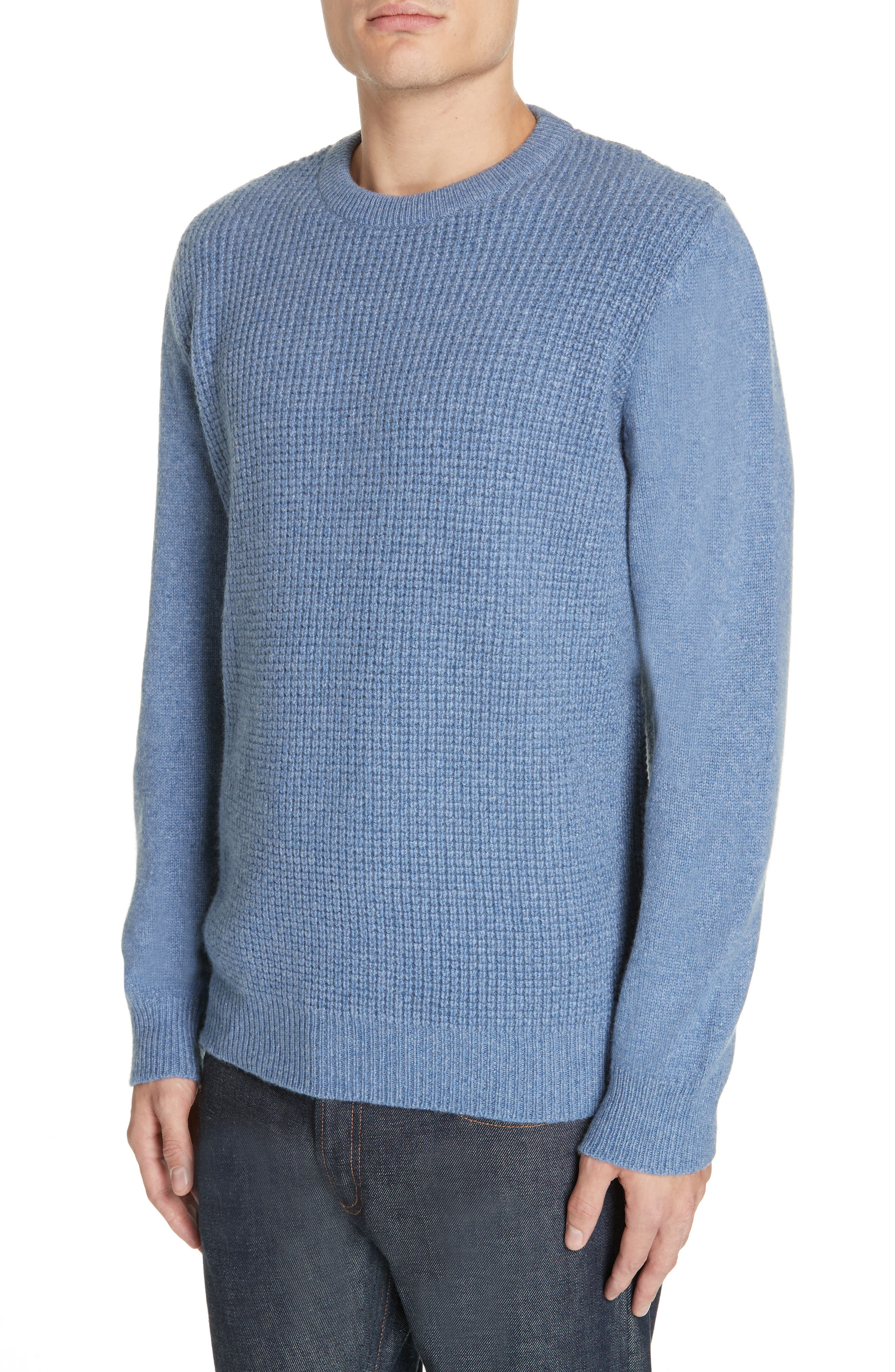 Waffle Knit Cashmere Crewneck Sweater,                             Alternate thumbnail 4, color,                             LIGHT BLUE
