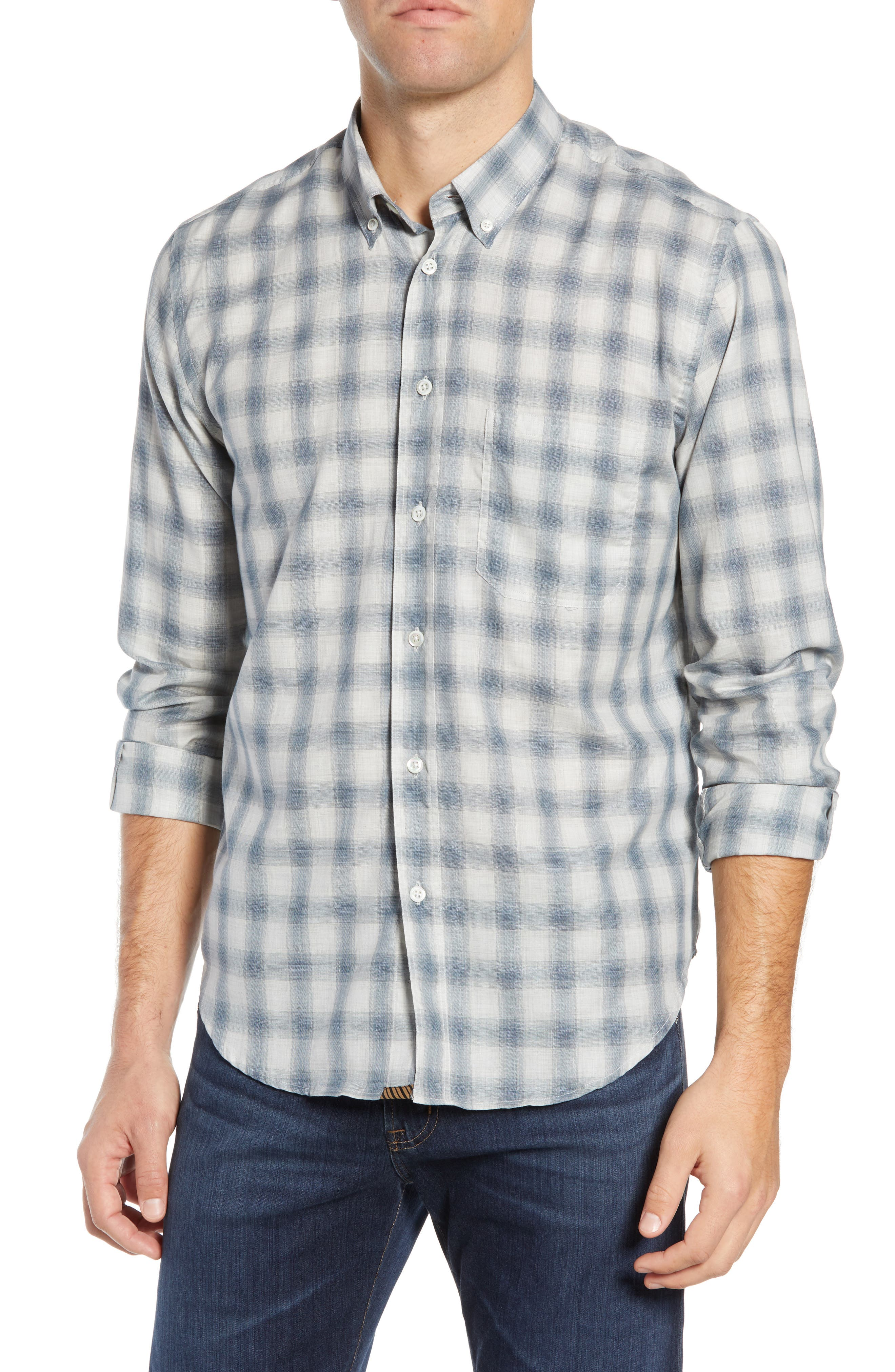 Tuscumbia Regular Fit Pattern Sport Shirt,                             Main thumbnail 1, color,                             BLUE/ GREY
