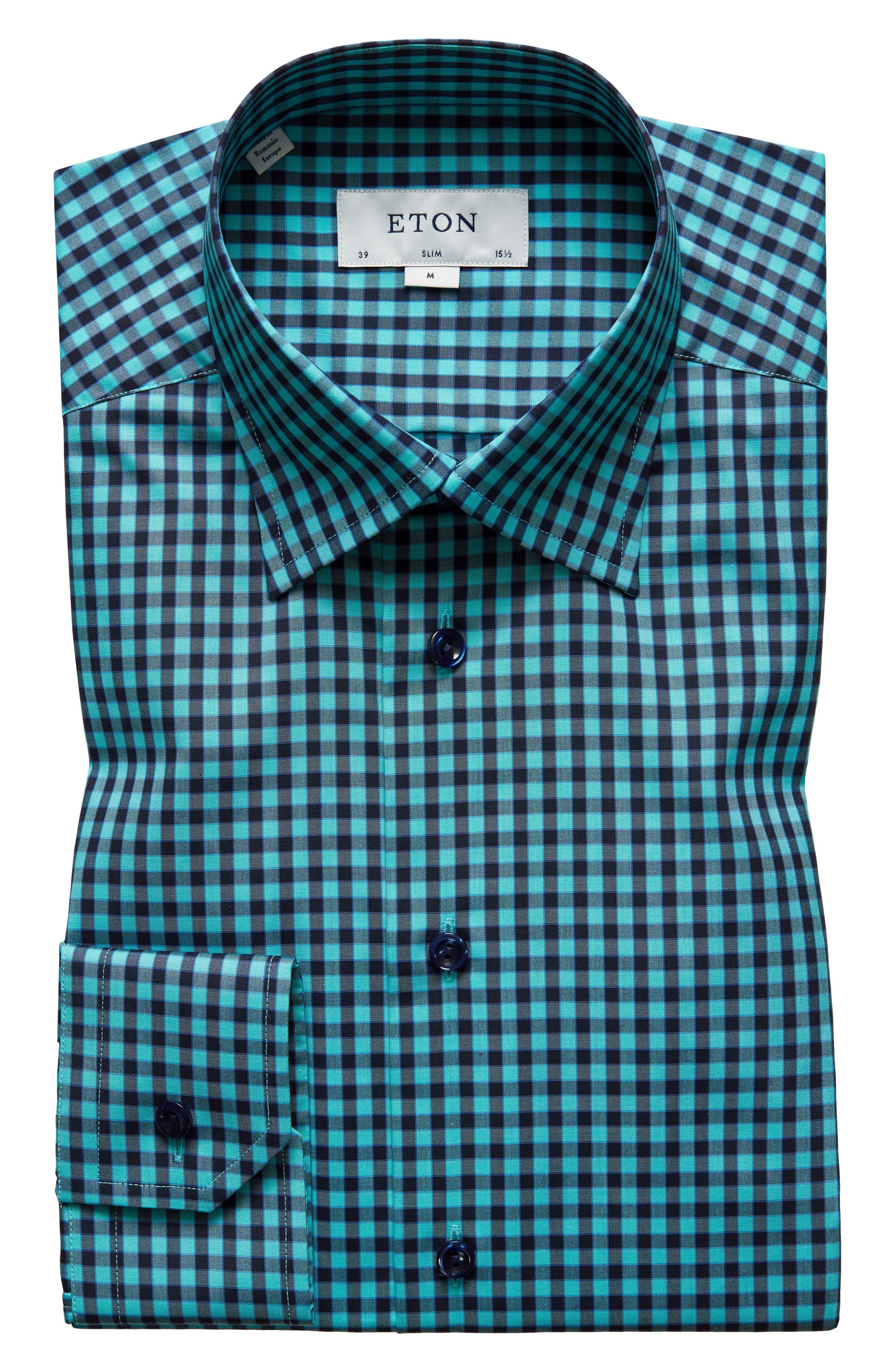 Slim Fit Check Dress Shirt,                         Main,                         color, 440
