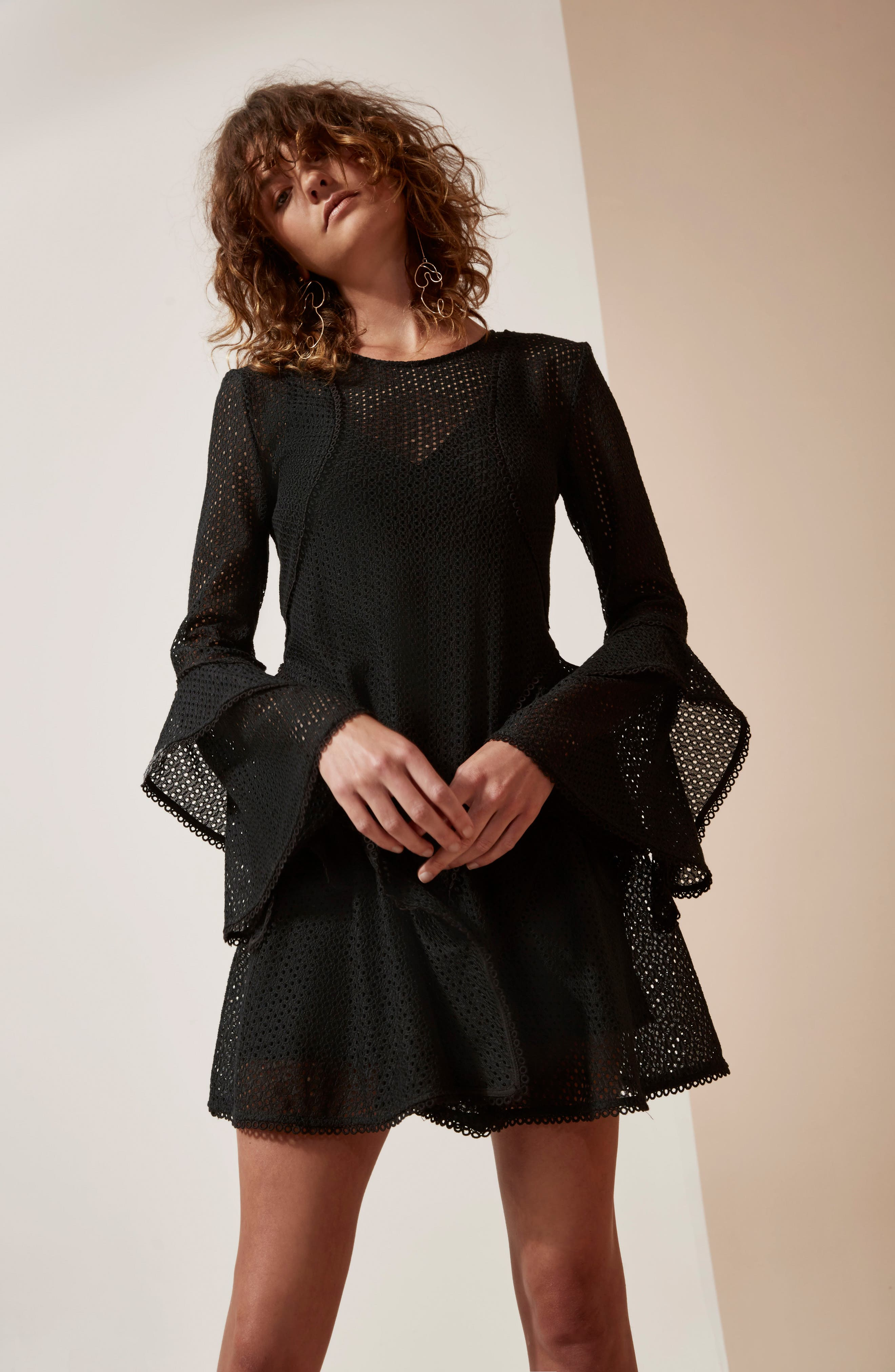 Aspire Lace Bell Sleeve Minidress,                             Alternate thumbnail 7, color,                             001