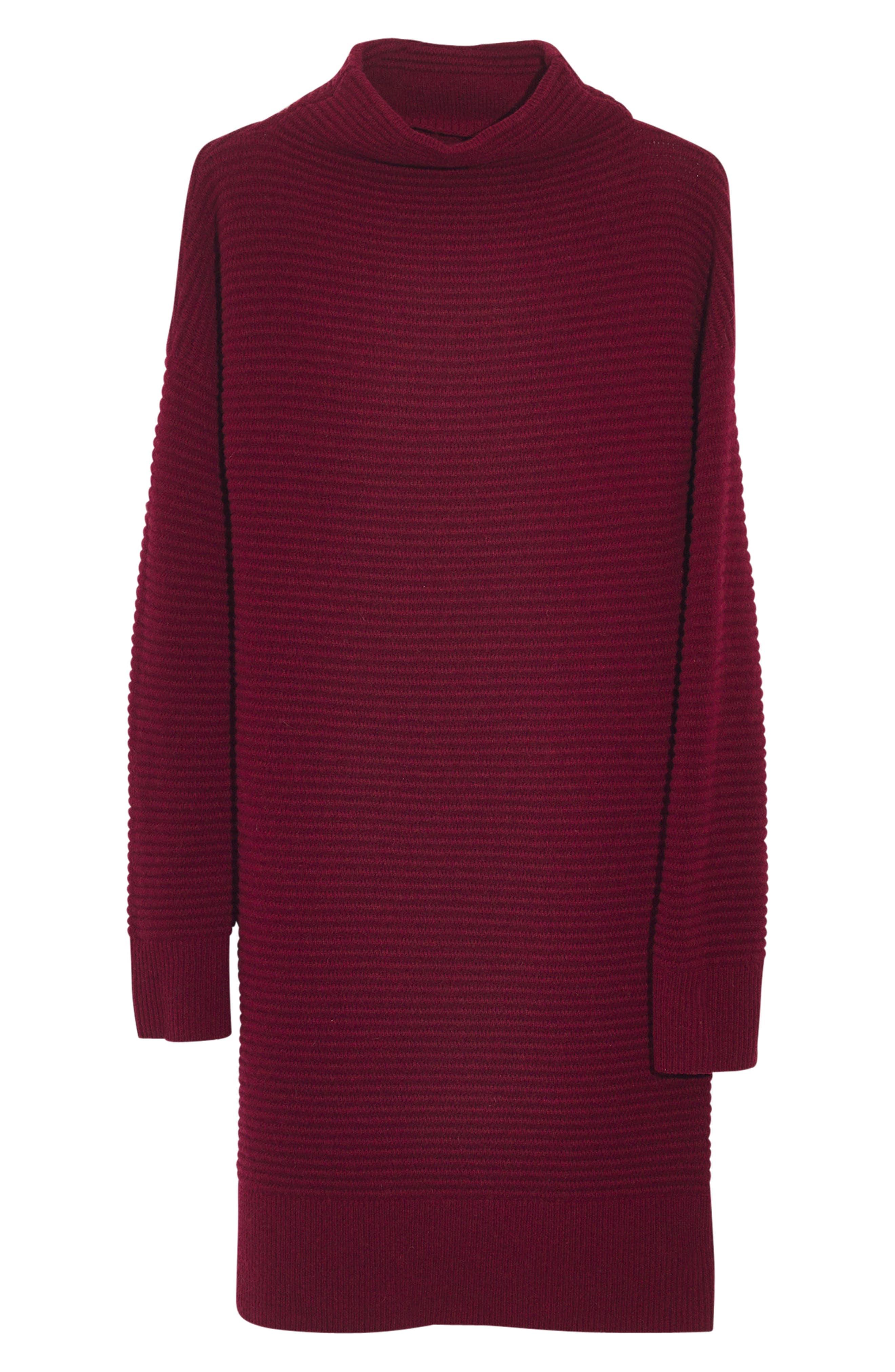 Skyscraper Merino Wool Sweater Dress,                             Alternate thumbnail 4, color,                             HEATHER BURGUNDY