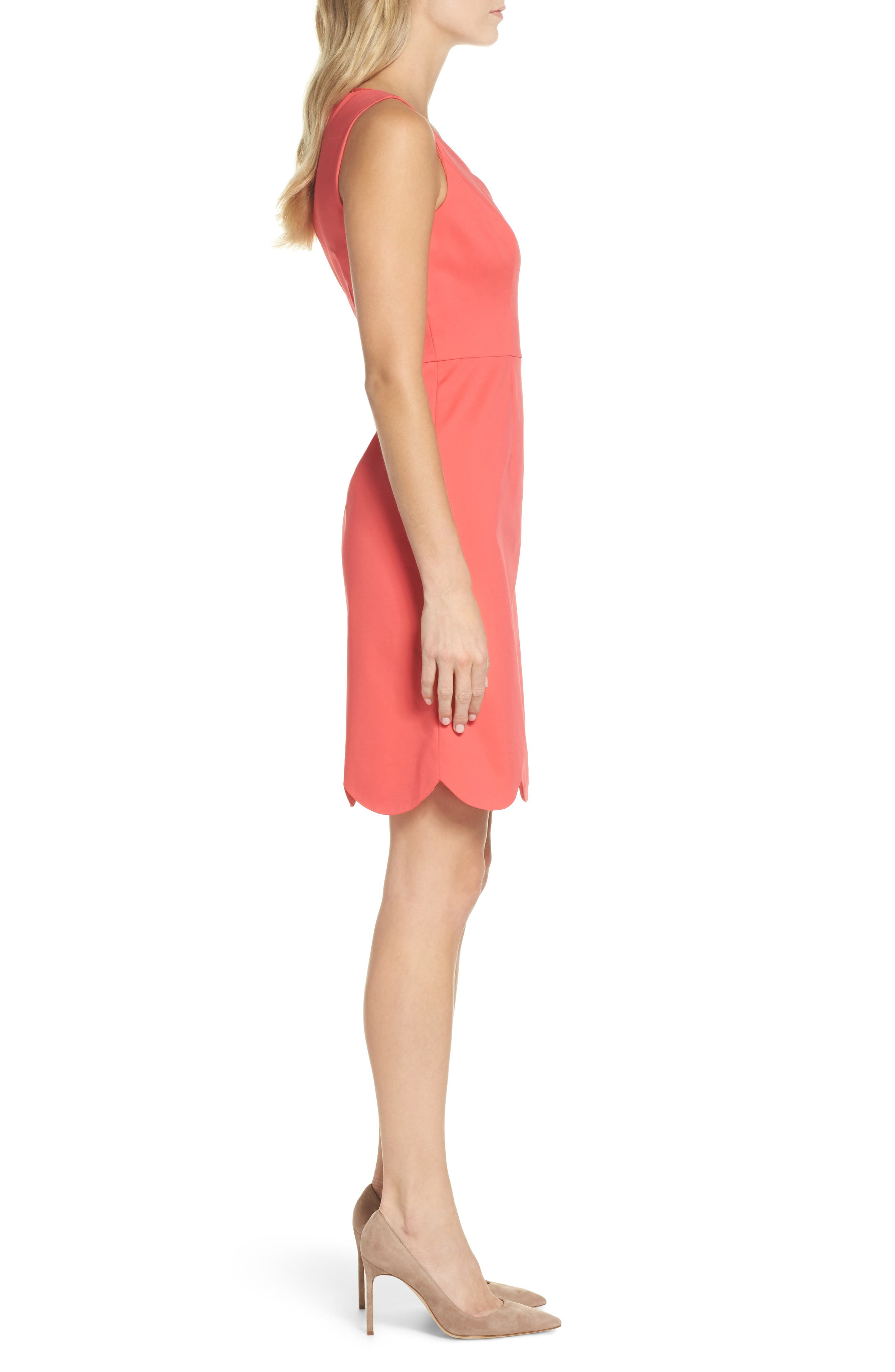 Elsa Scalloped Sheath Dress,                             Alternate thumbnail 3, color,                             650