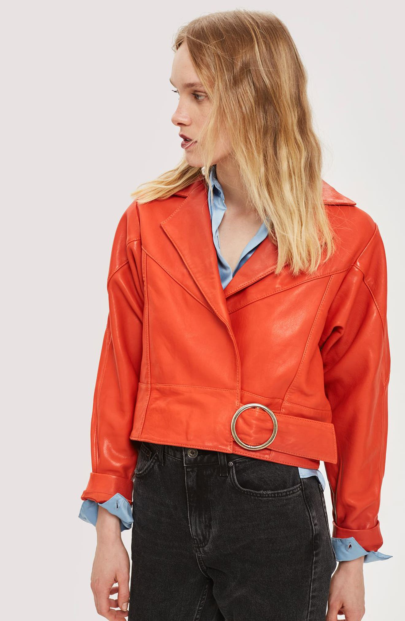 Crop Leather Moto Jacket,                             Alternate thumbnail 3, color,                             RED