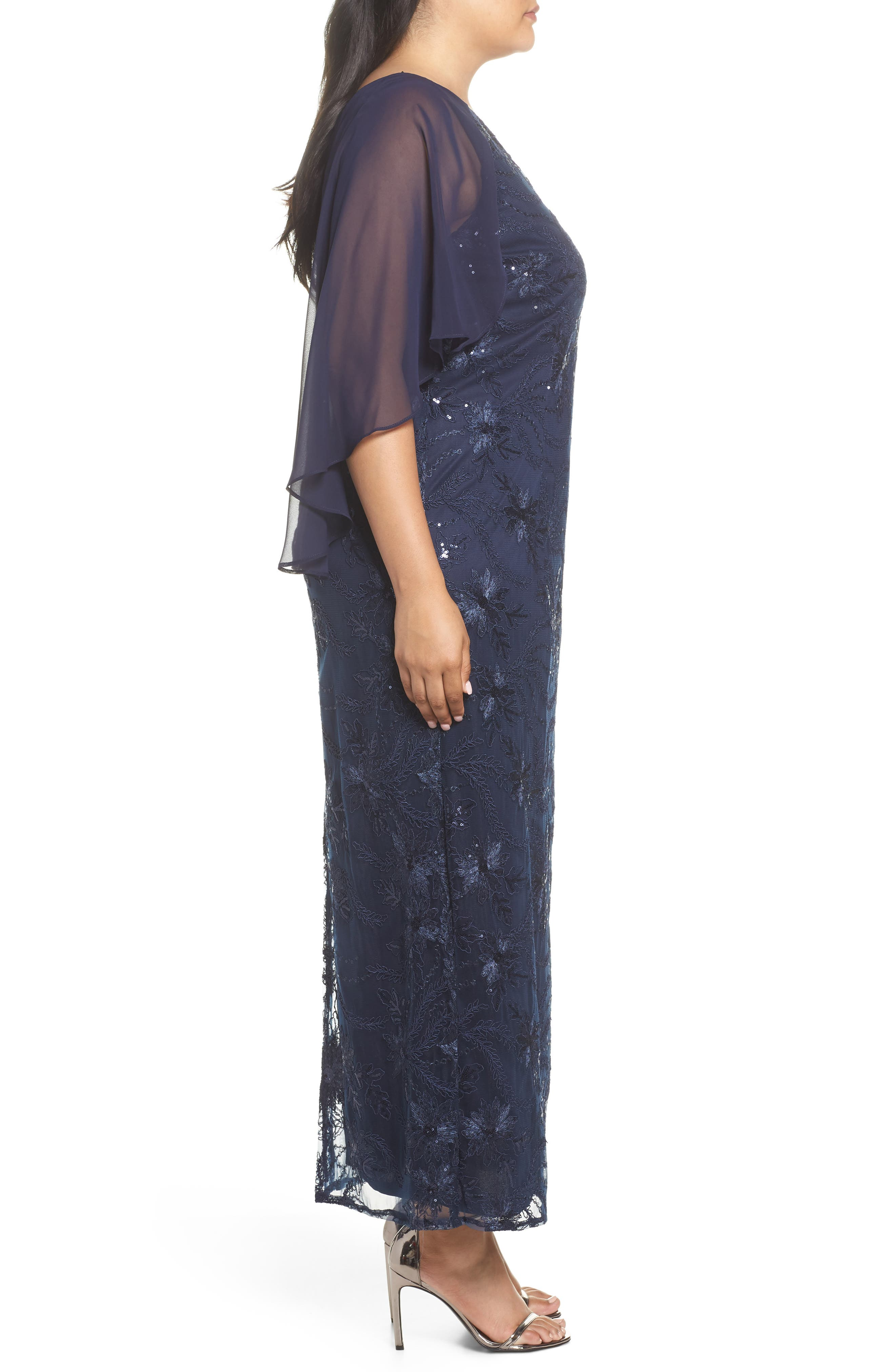 Embellished Capelet Gown,                             Alternate thumbnail 3, color,                             NAVY