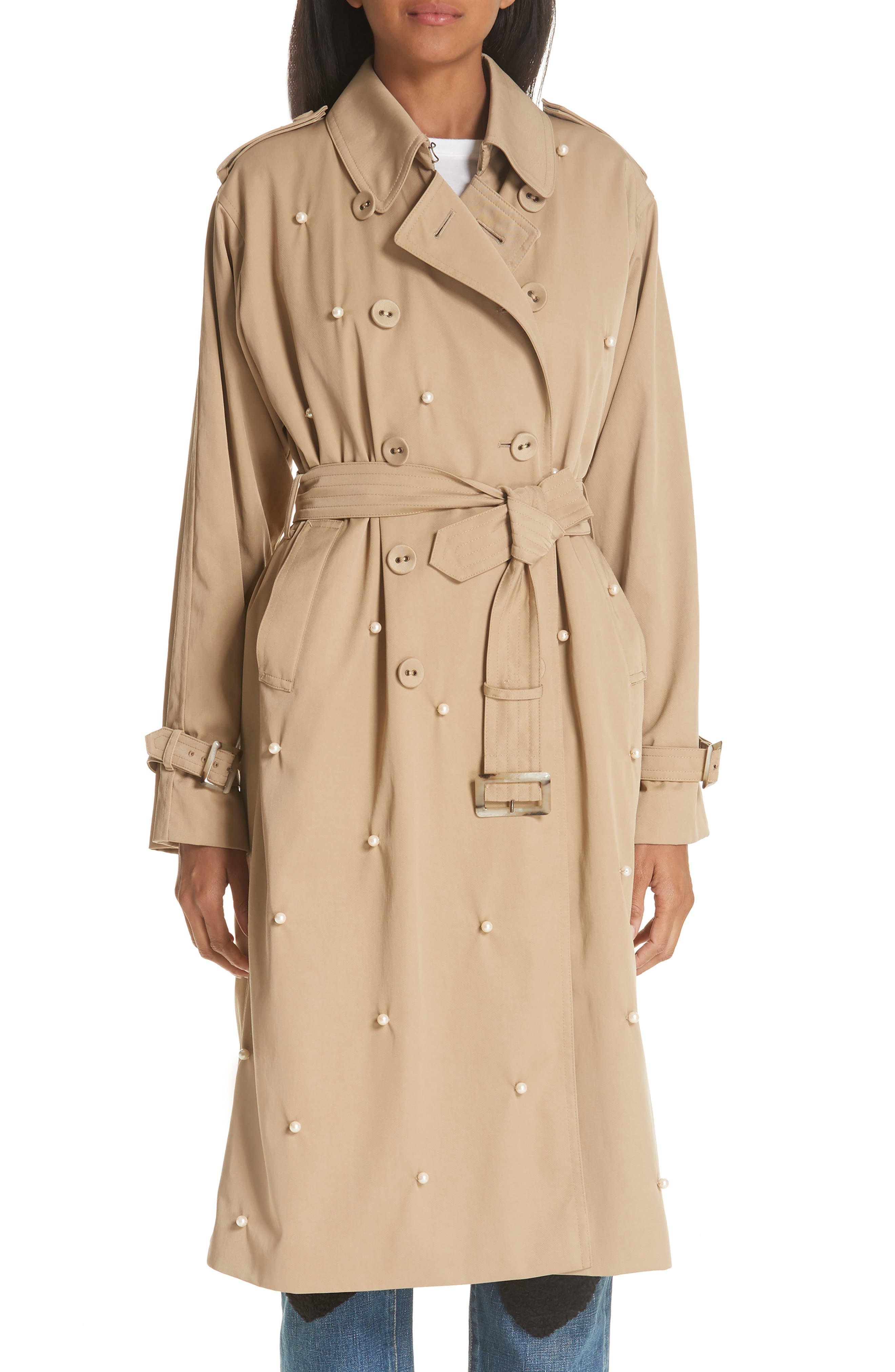 Imitation Pearl Embellished Trench Coat,                             Main thumbnail 1, color,                             BEIGE BEIG
