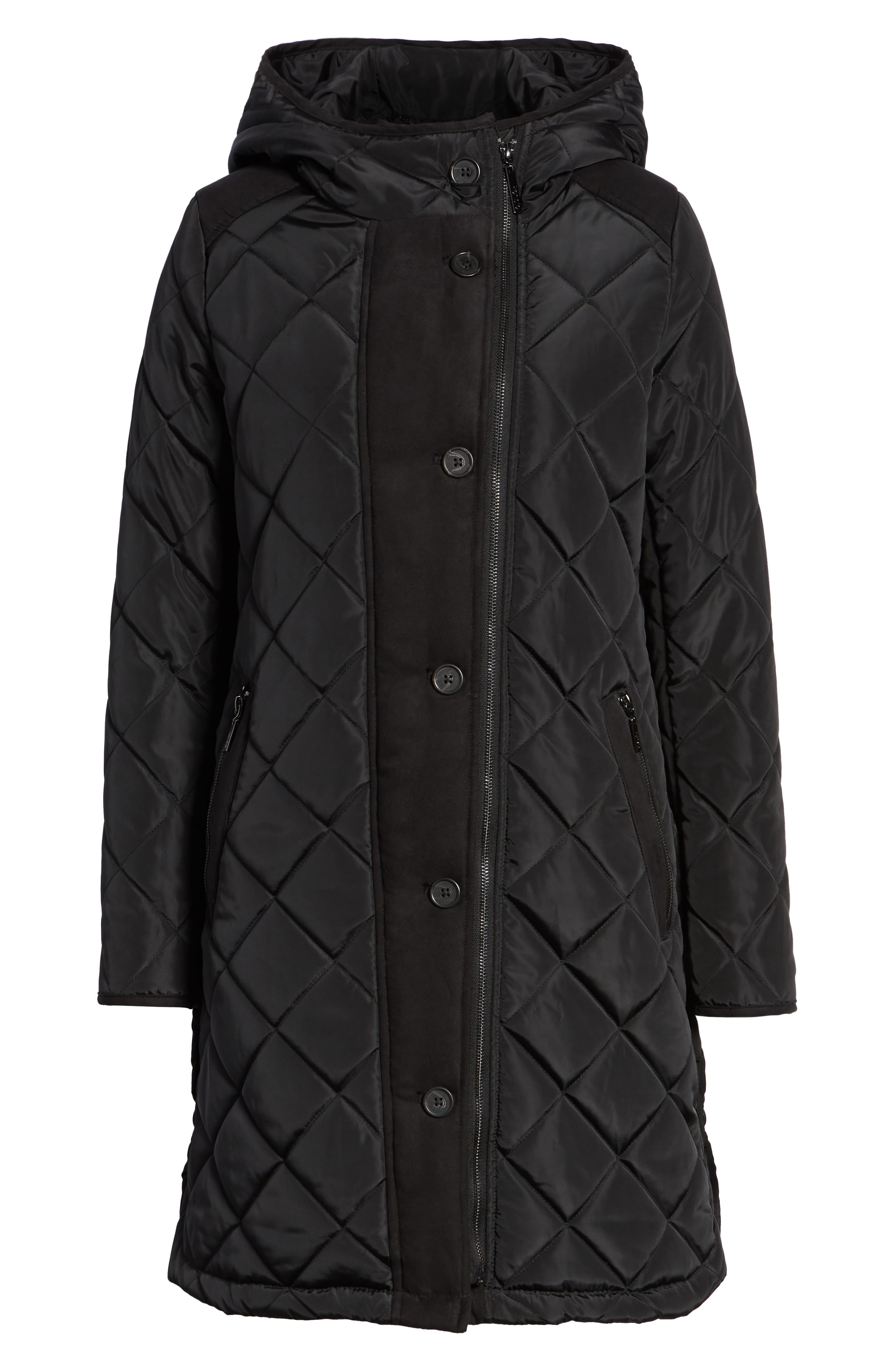 Button Side Quilted Jacket,                             Alternate thumbnail 6, color,                             BLACK