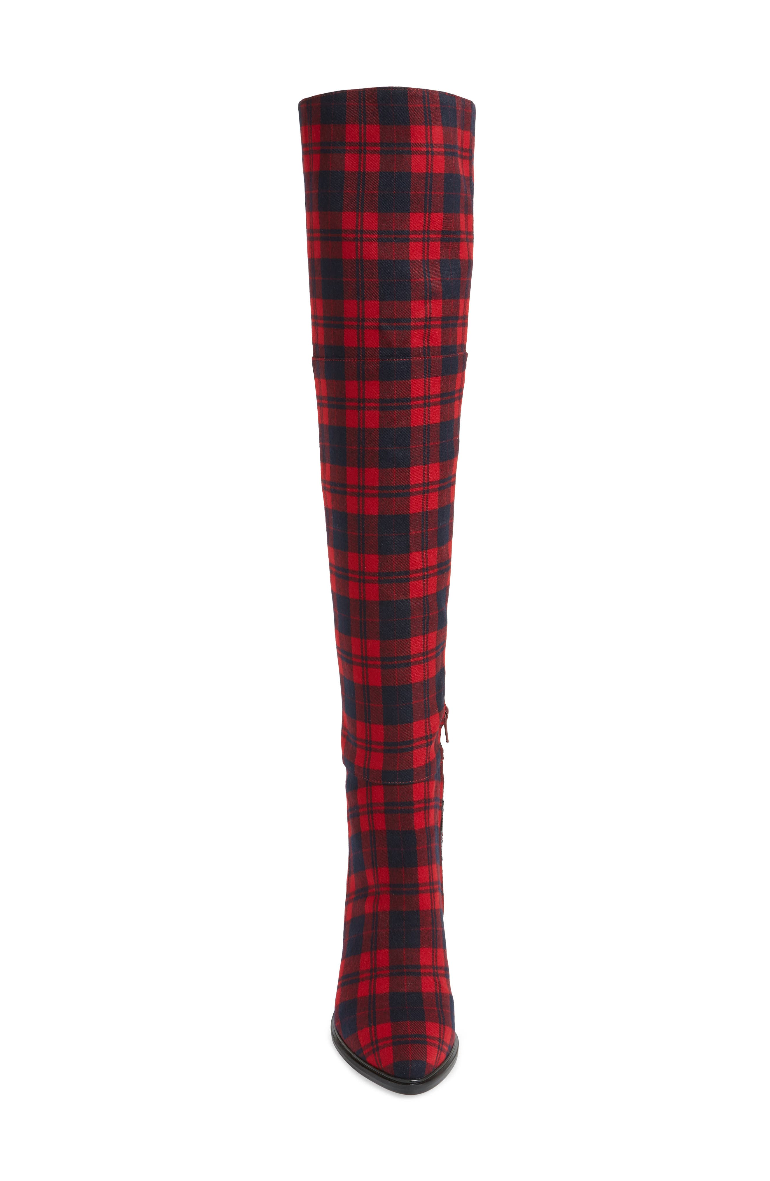 Alla Over the Knee Boot,                             Alternate thumbnail 4, color,                             RED TARTAN