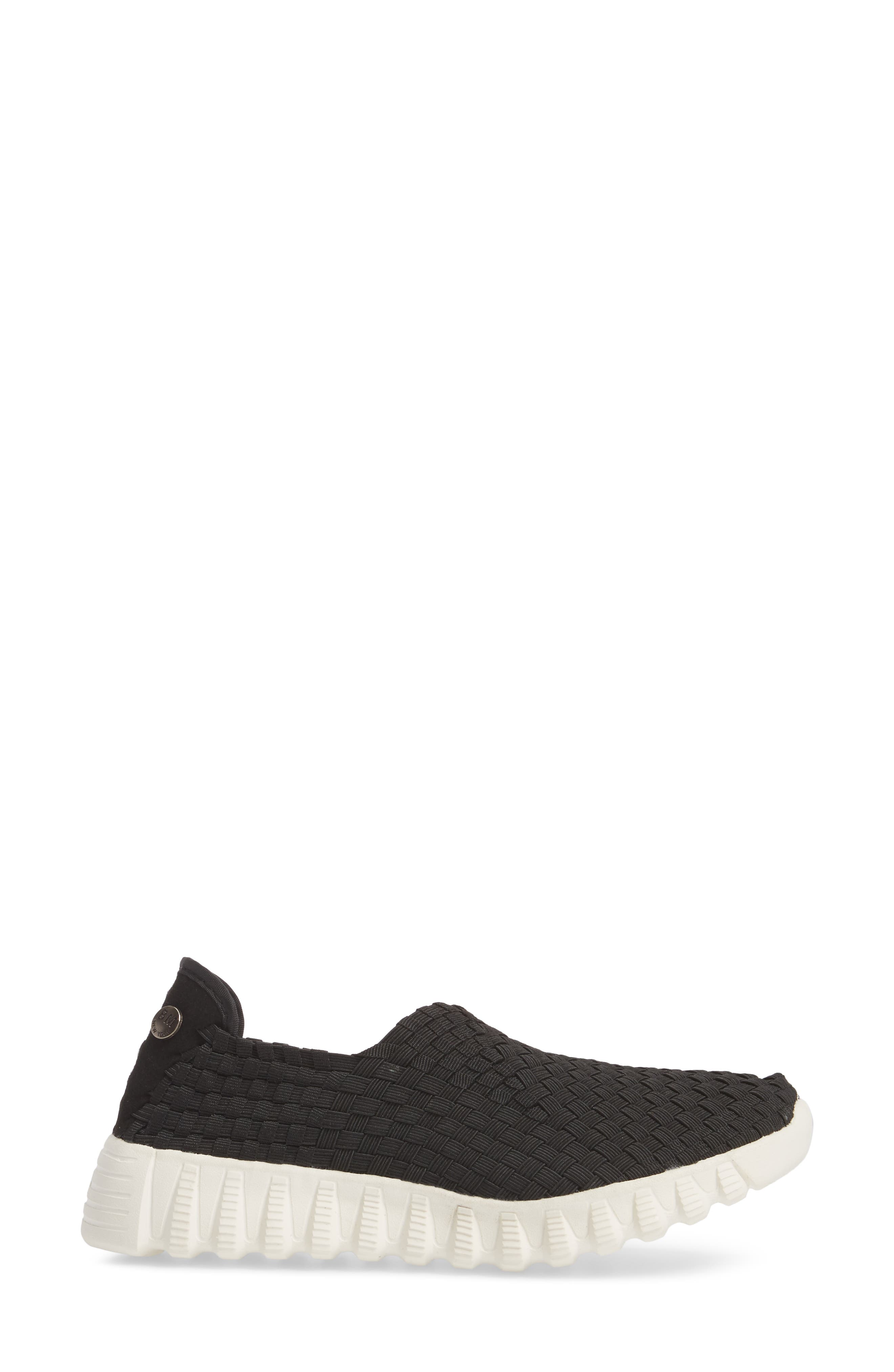 Woven Slip-On Sneaker,                             Alternate thumbnail 3, color,                             BLACK