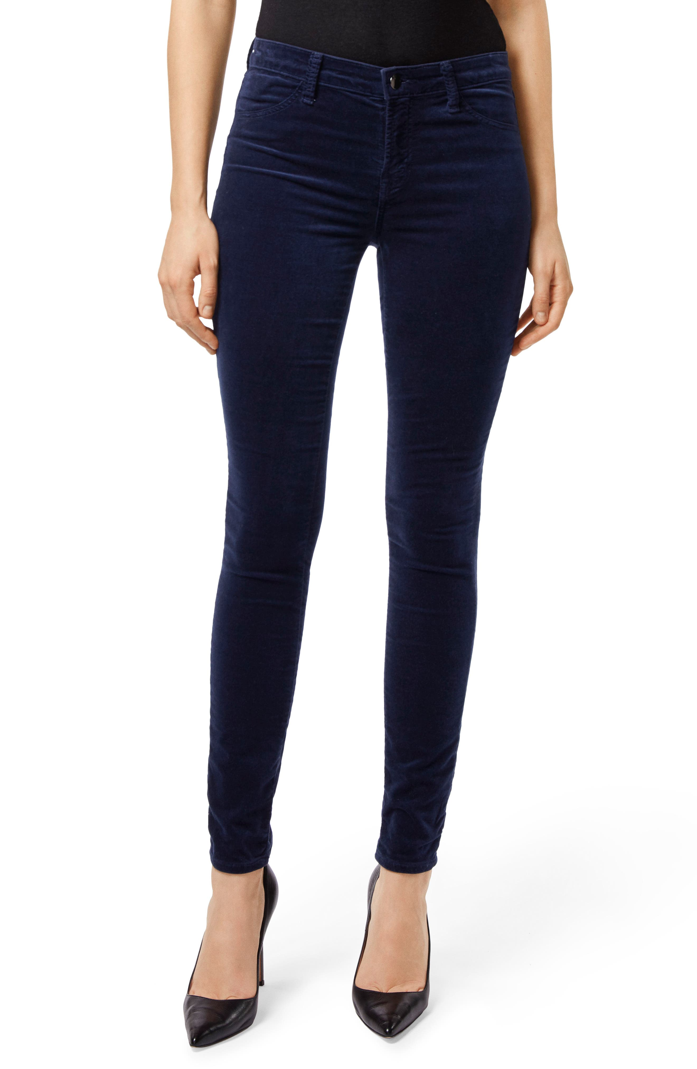 Maria High Waist Velvet Skinny Jeans,                             Main thumbnail 1, color,                             NIGHT OUT
