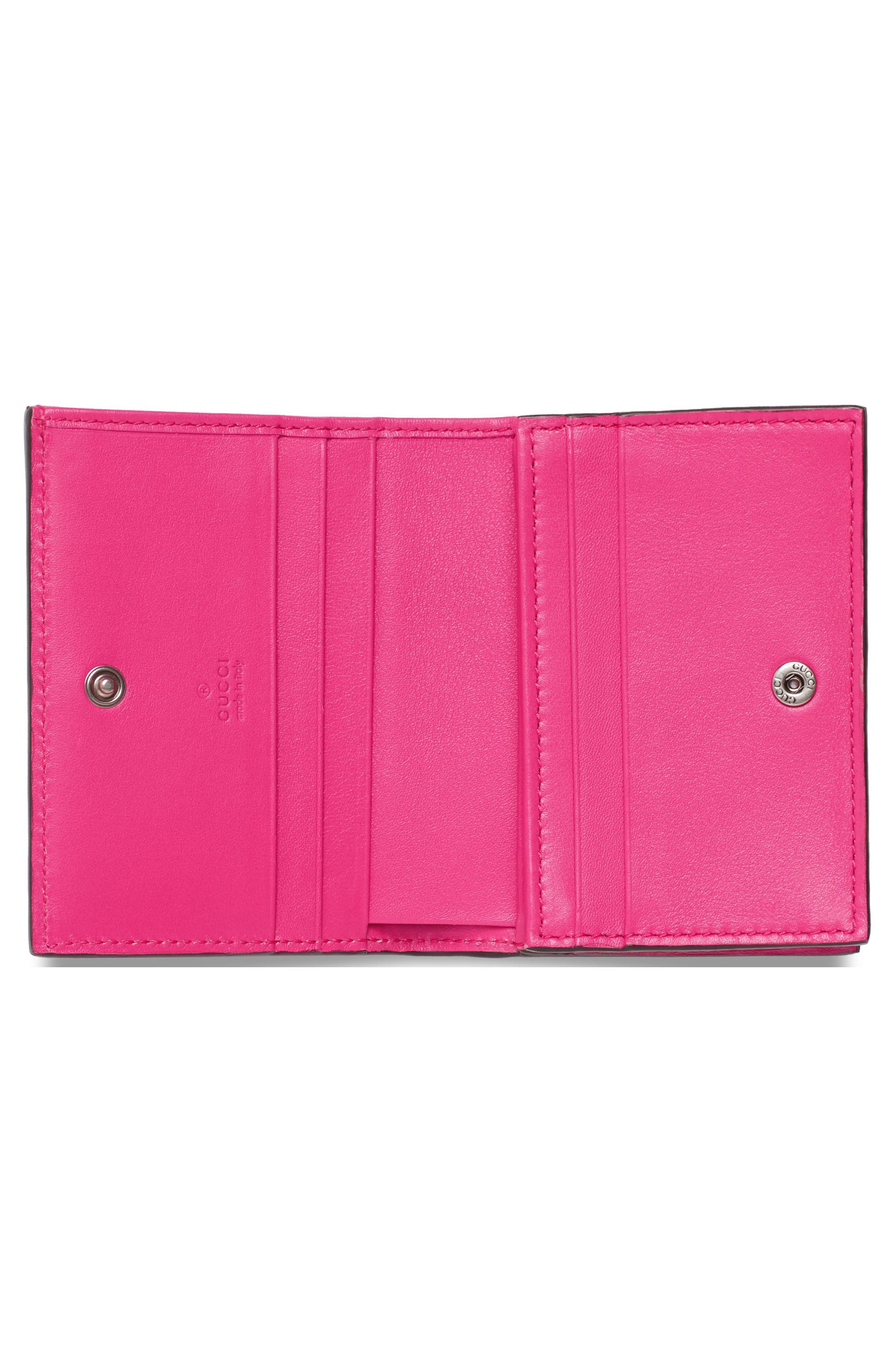 Guccy Logo Moon & Stars Leather Flap Card Case,                             Alternate thumbnail 2, color,                             BRIGHT FUCSIA ORO