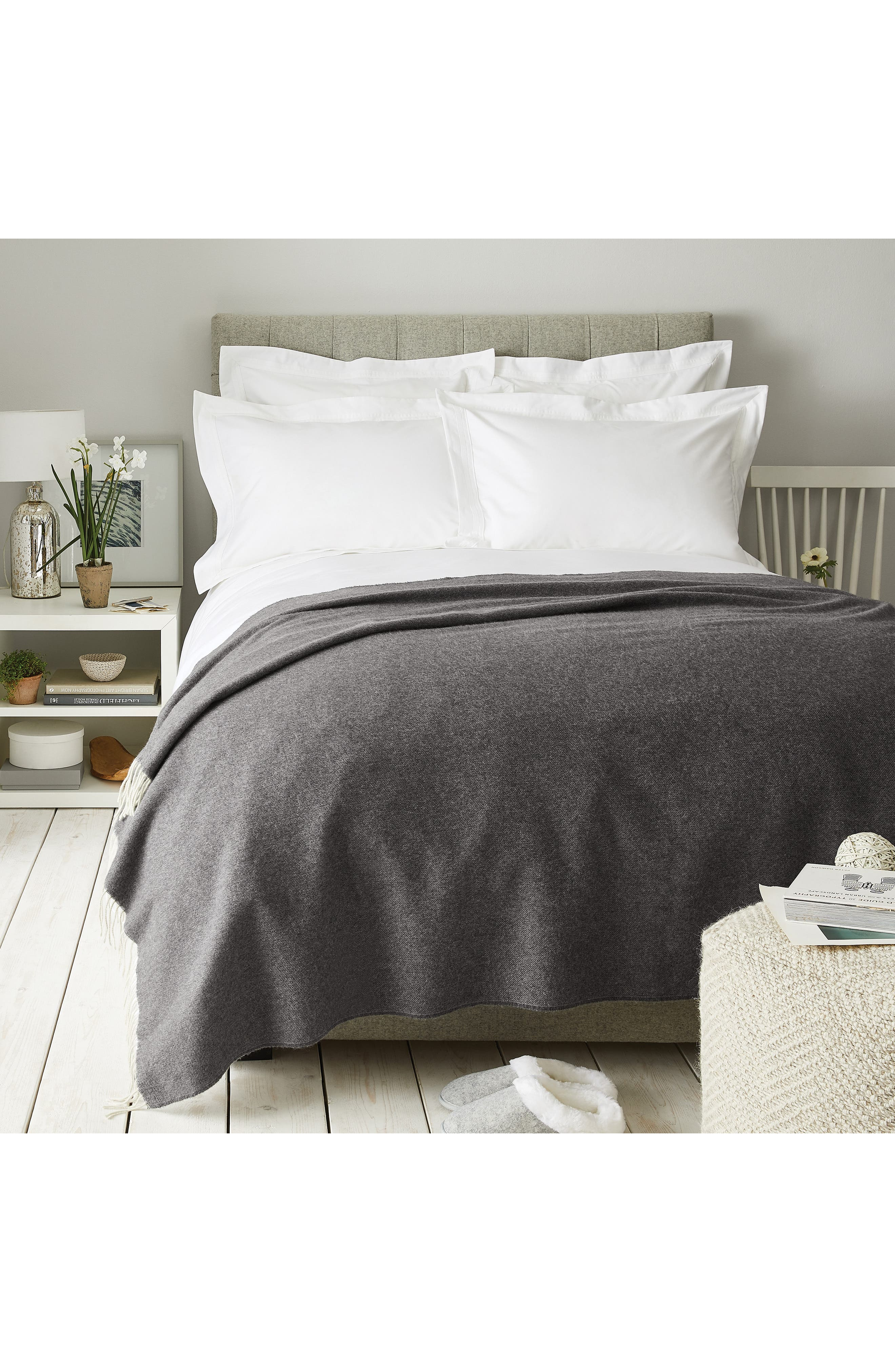 Pure Cashmere Throw,                             Main thumbnail 1, color,                             CHARCOAL