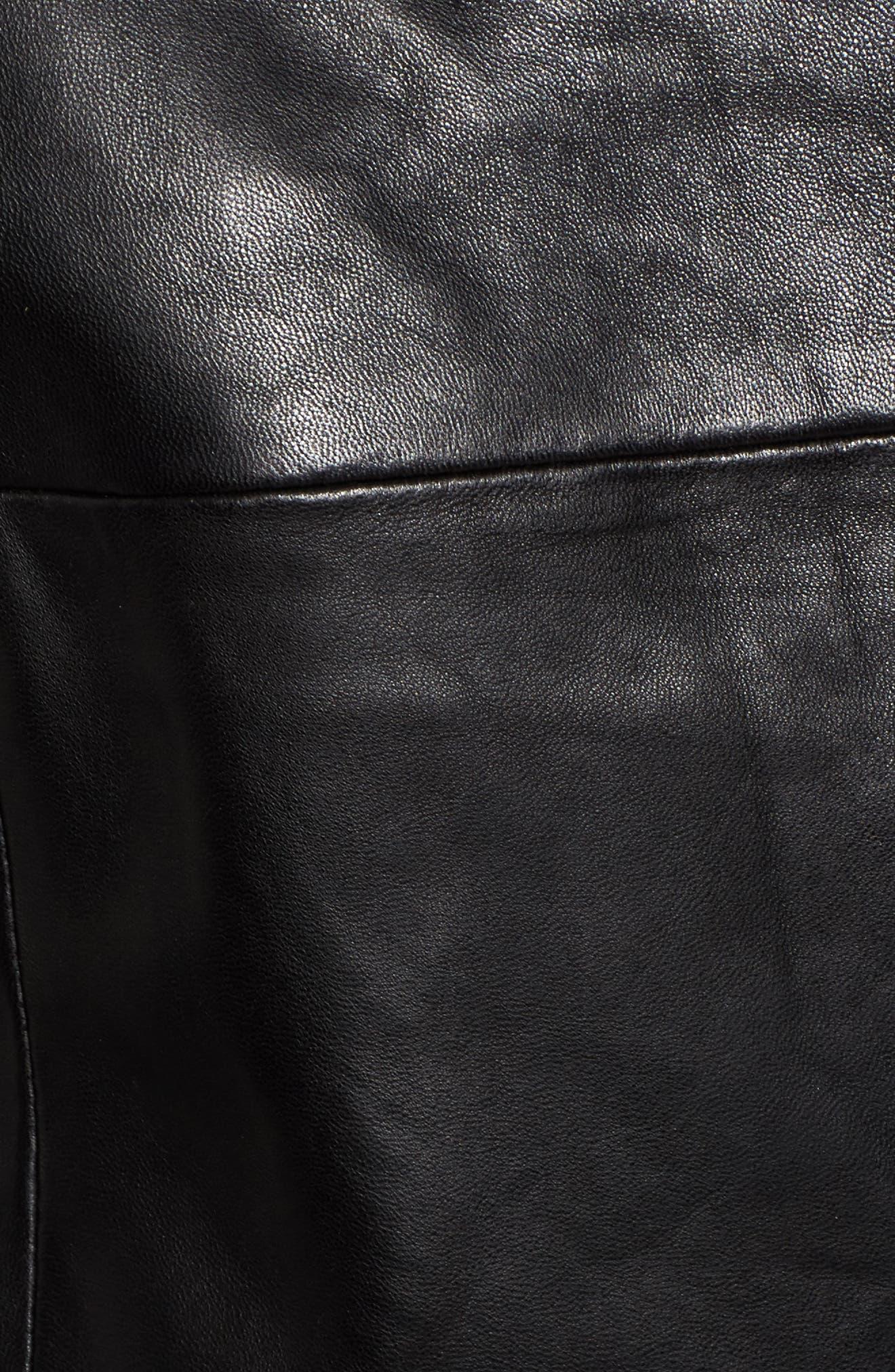 Belted Leather Moto Jacket,                             Alternate thumbnail 6, color,