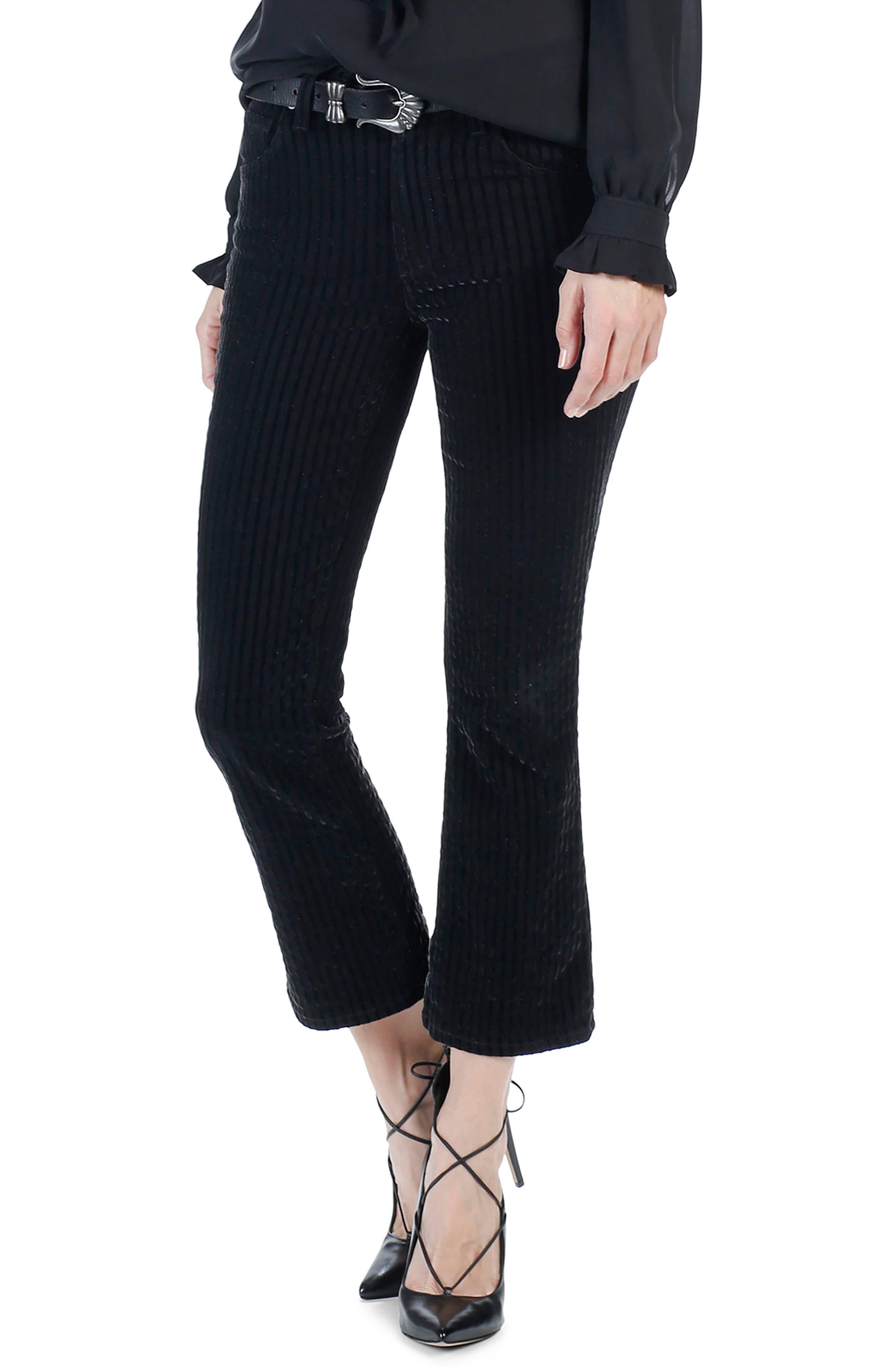Colette High Waist Crop Flare Velvet Pants,                         Main,                         color, 001
