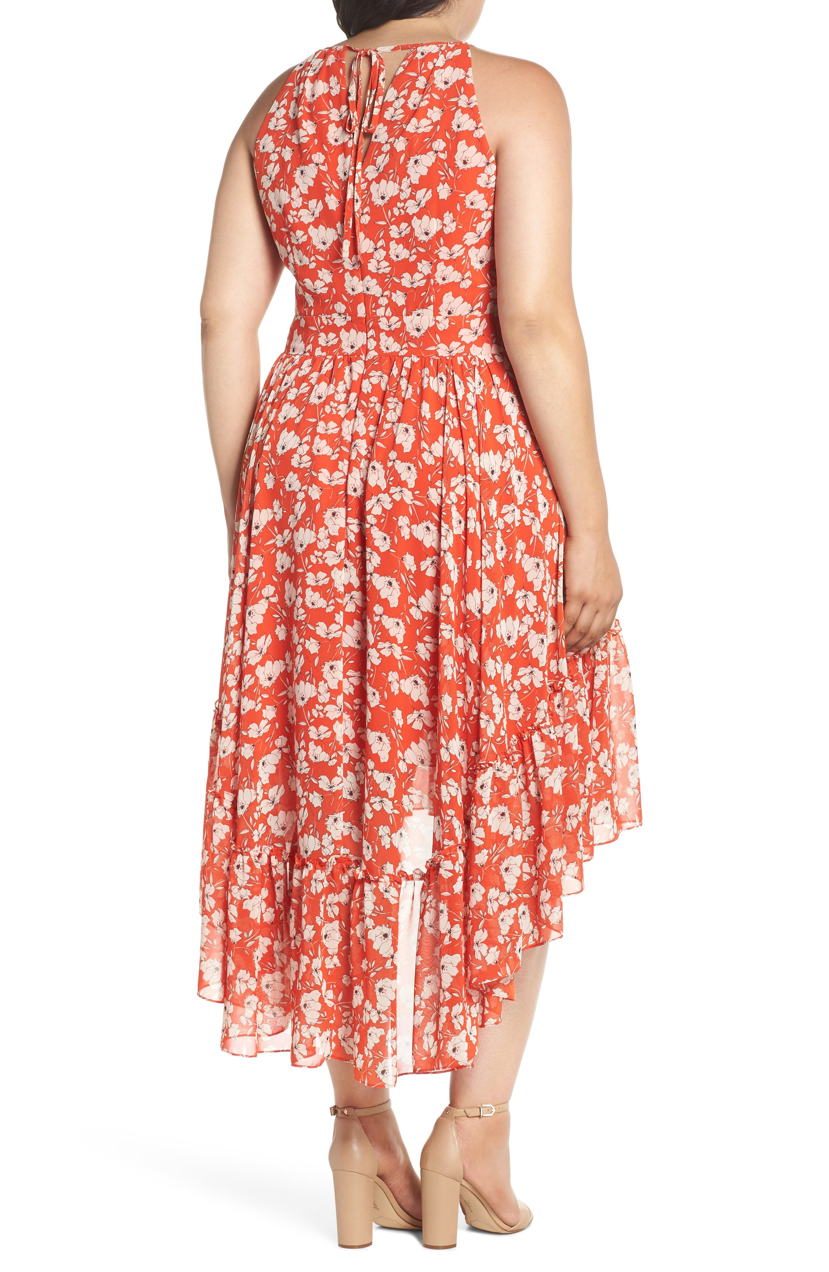 Ruffle Hem Halter Neck Chiffon Dress,                             Alternate thumbnail 2, color,                             600