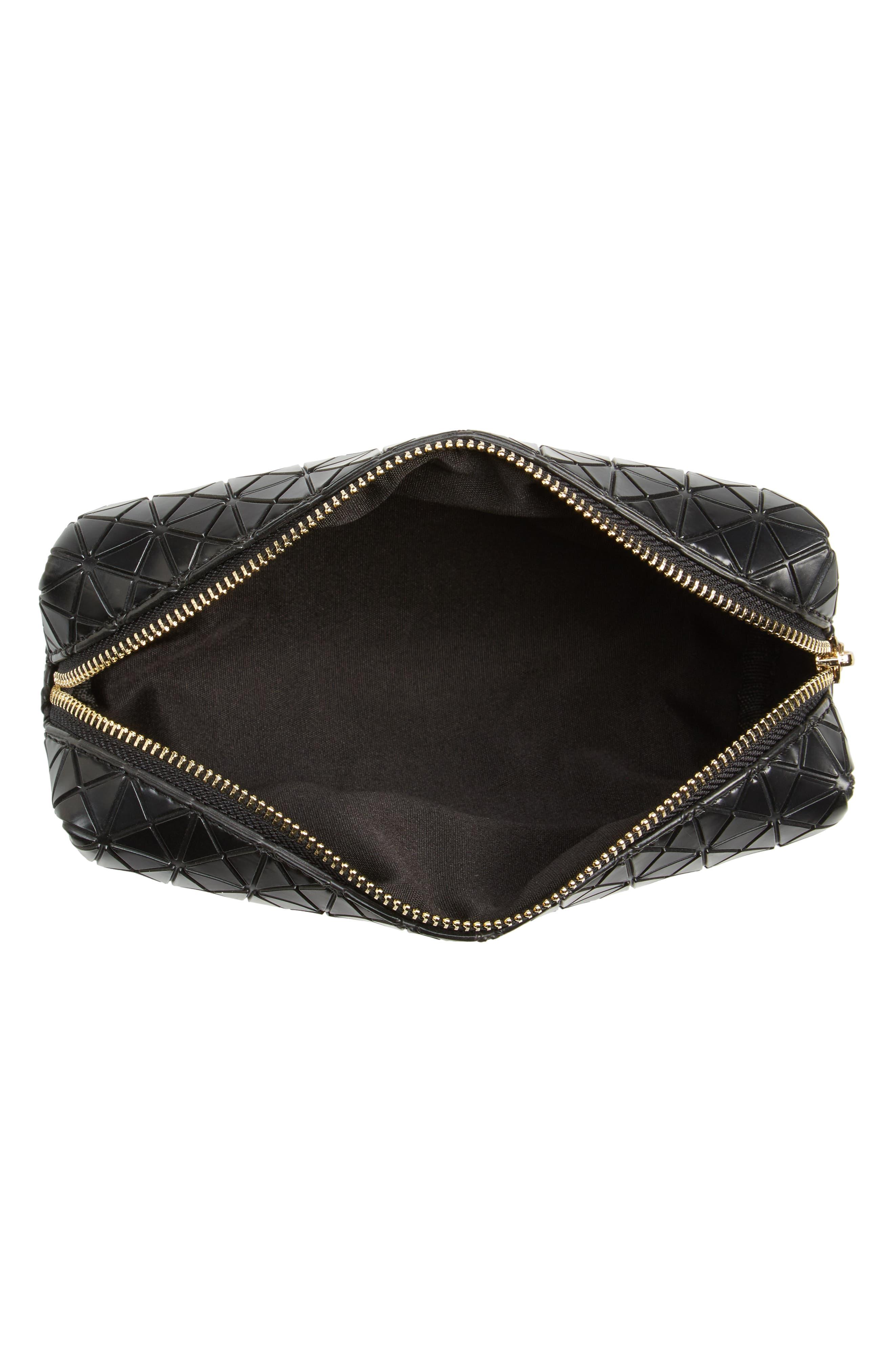 Diamond Embossed Cosmetics Bag,                             Alternate thumbnail 3, color,                             001