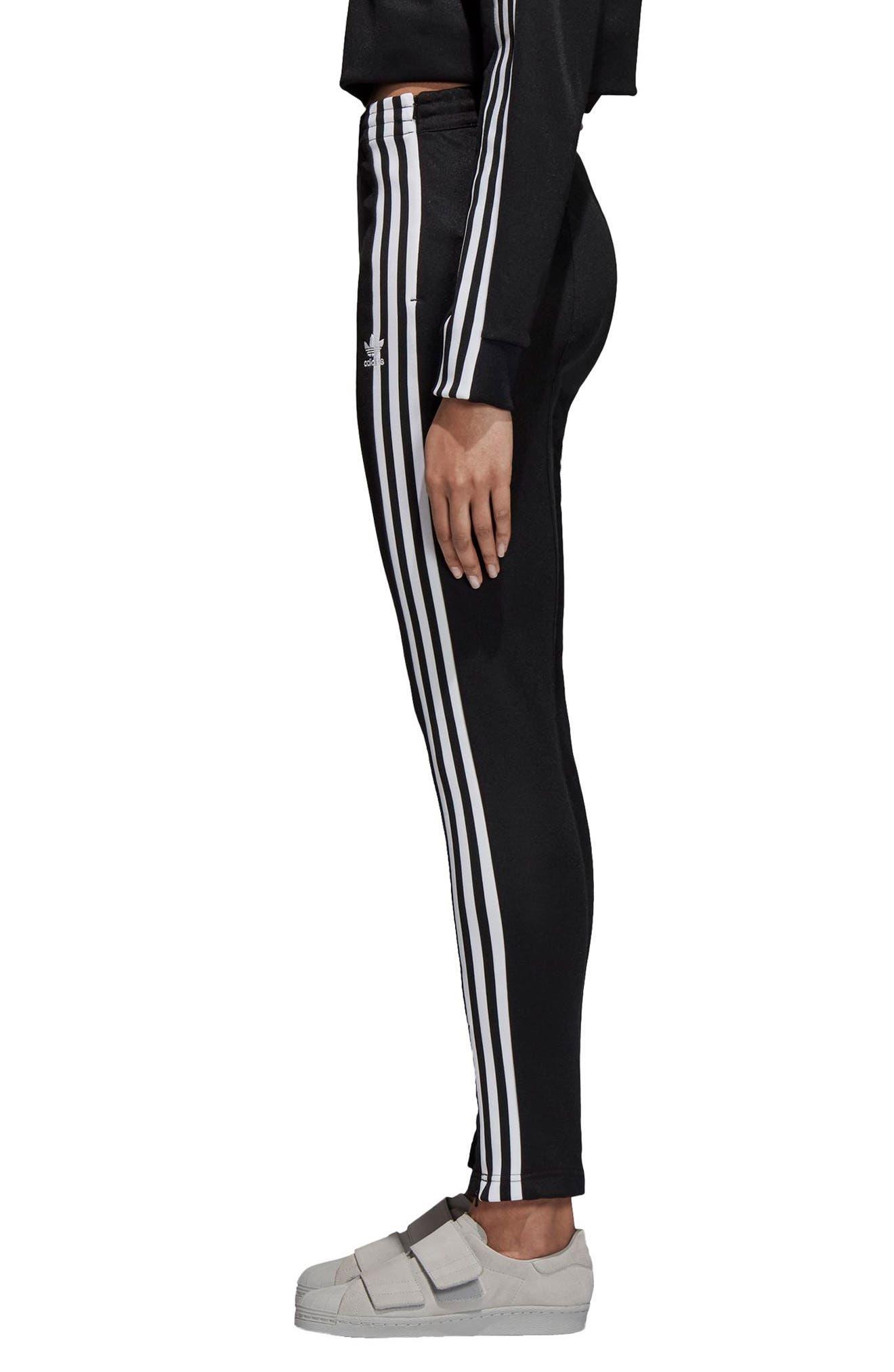 adidas 3 Stripe Track Pants,                             Alternate thumbnail 3, color,                             BLACK