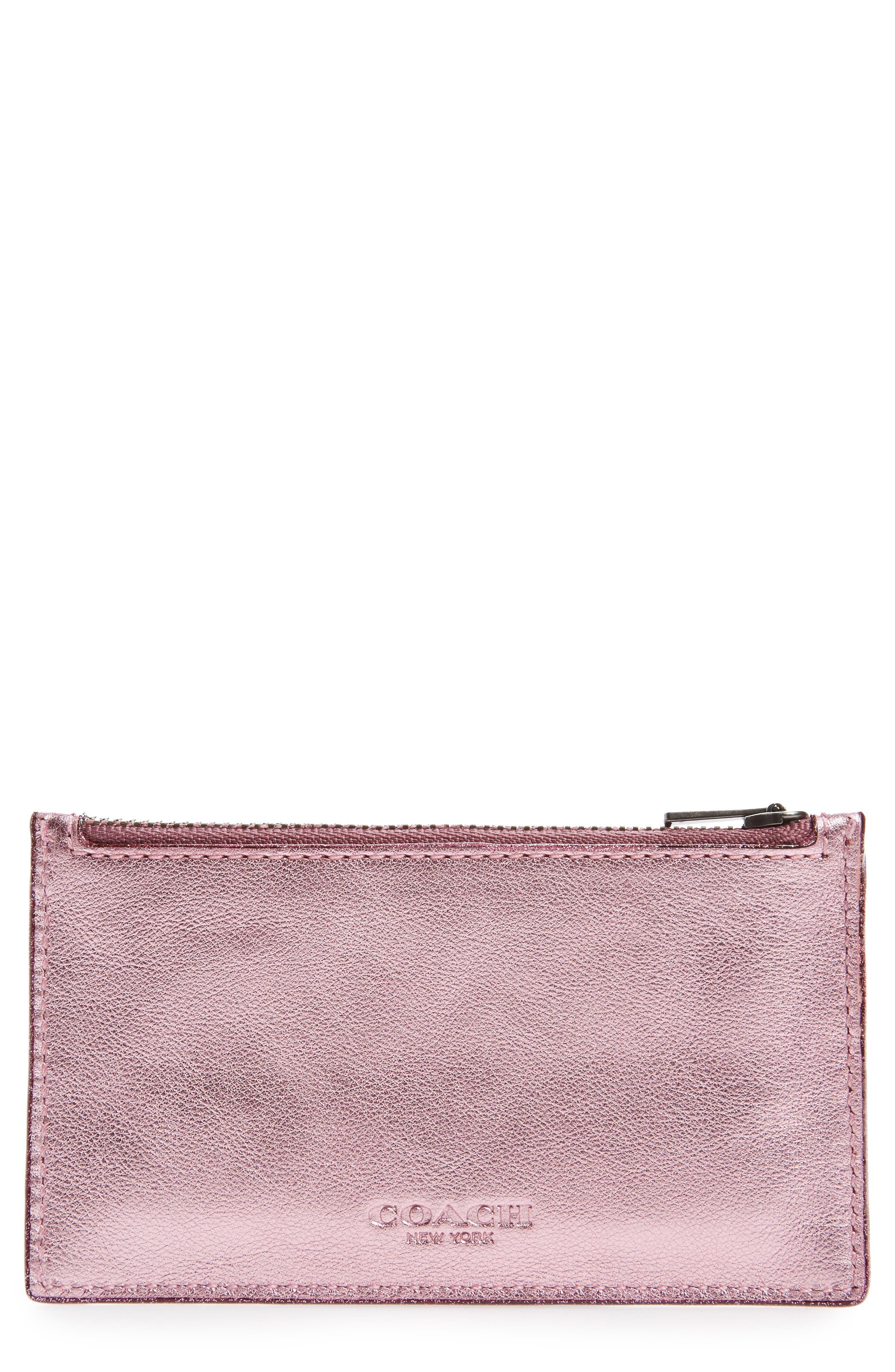 Zip Leather Card Case,                             Main thumbnail 3, color,