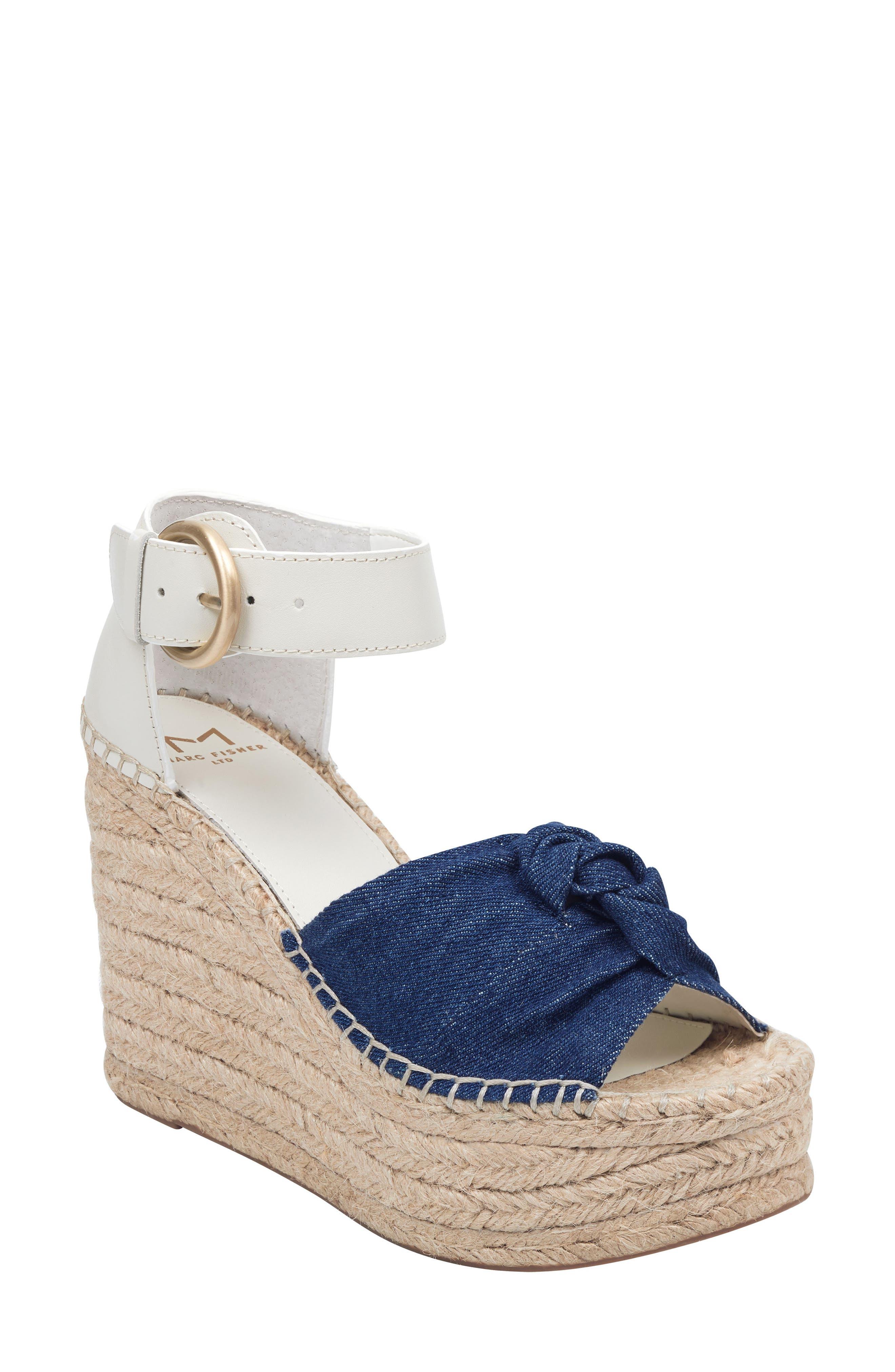 Marc Fisher Ltd. Anty 2 Platform Espadrille Sandal- Blue