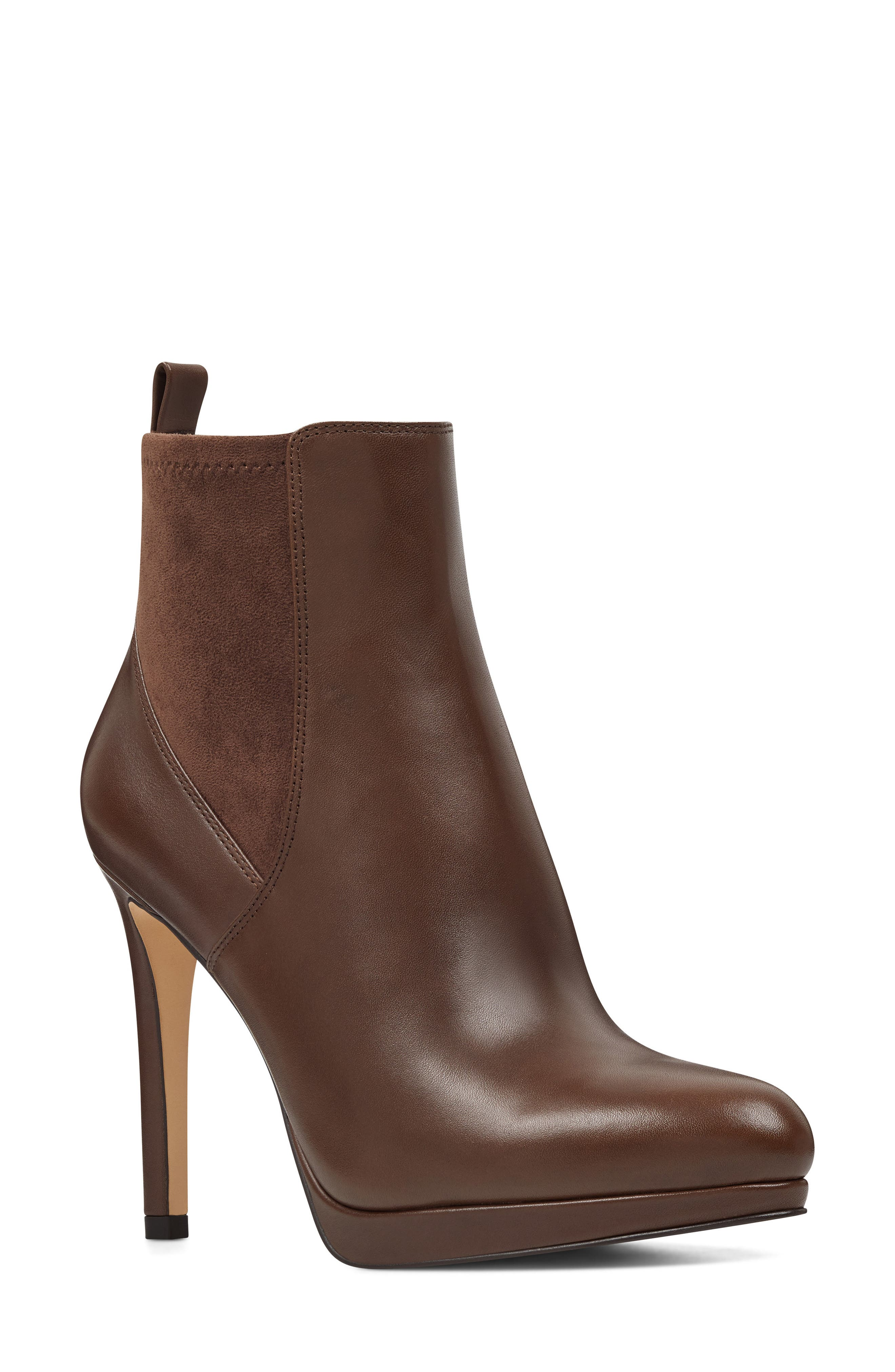 Quillen Stretch Bootie,                             Main thumbnail 1, color,                             BROWN LEATHER