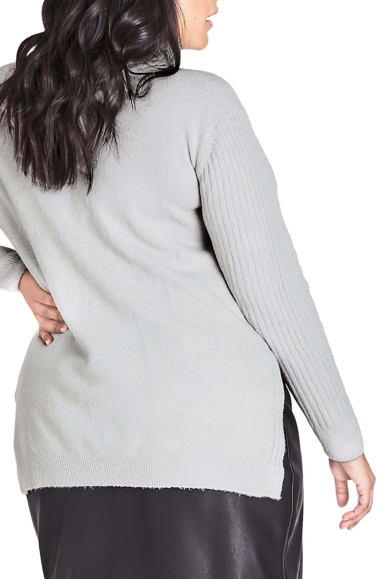 CITY CHIC,                             Turtleneck Sweater,                             Alternate thumbnail 2, color,                             SILVER MARLE