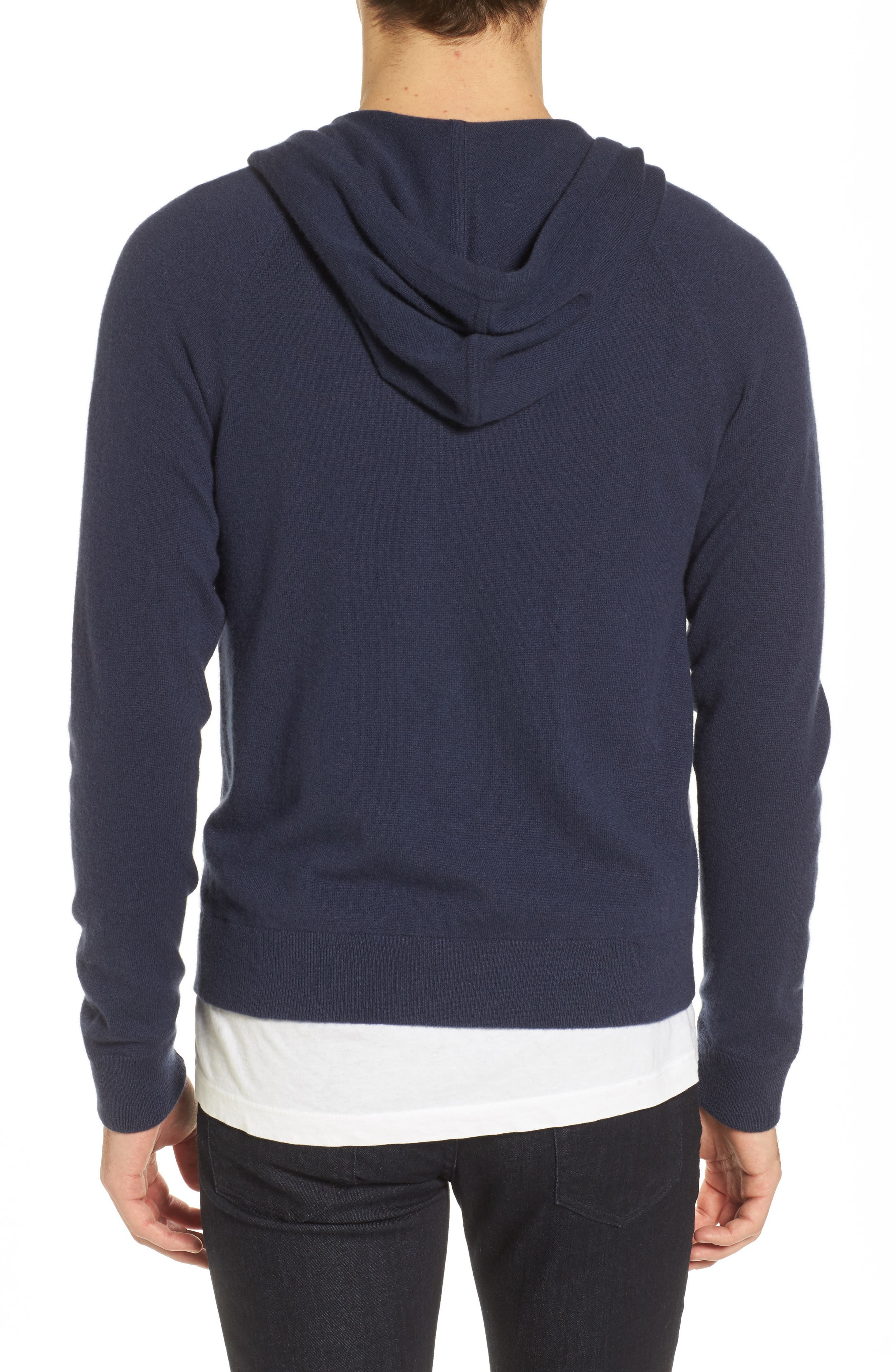 Classic Fit Cashmere Hooded Track Jacket,                             Alternate thumbnail 4, color,