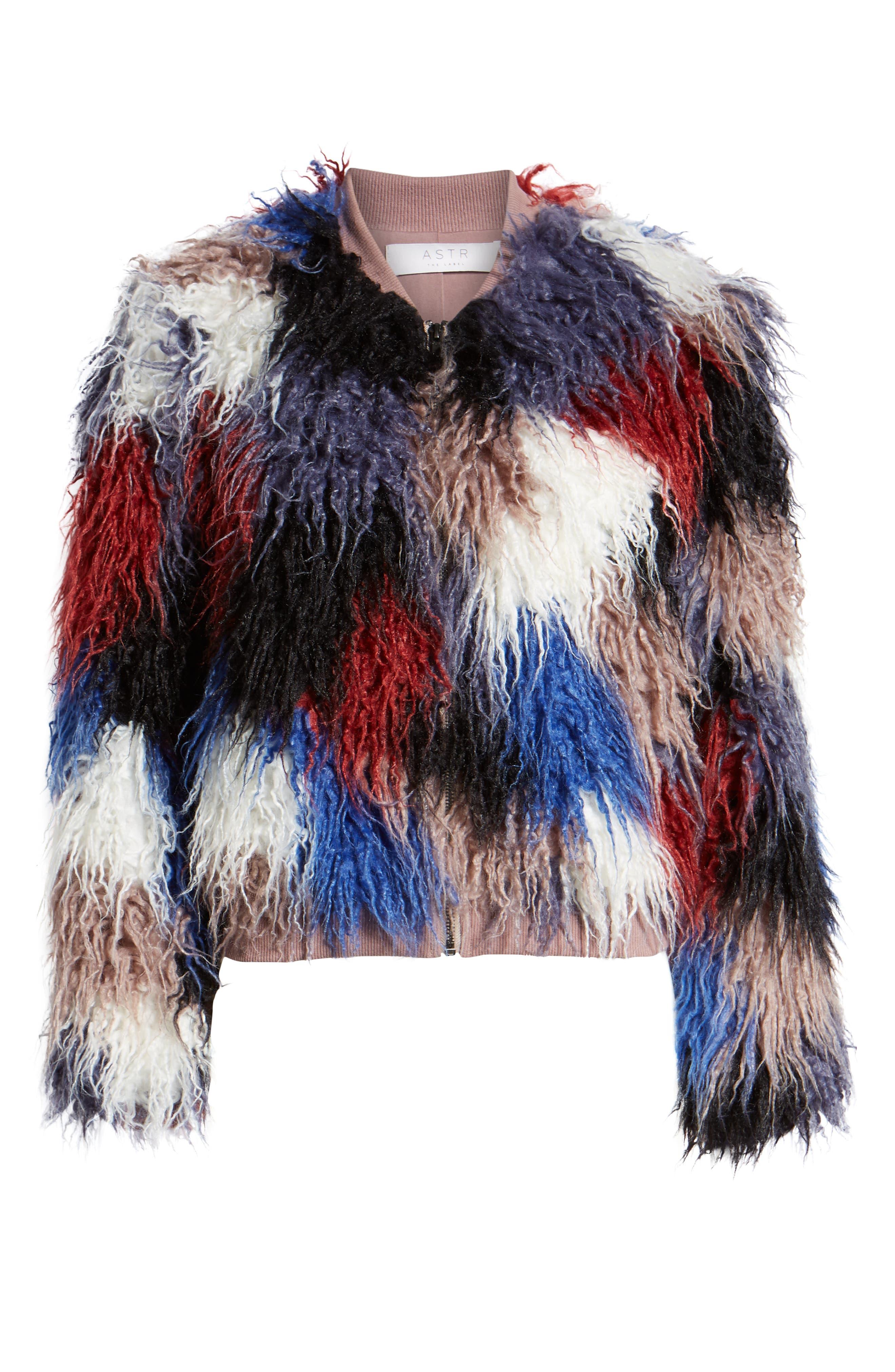 Shaggy Faux Fur Jacket,                             Alternate thumbnail 6, color,                             400