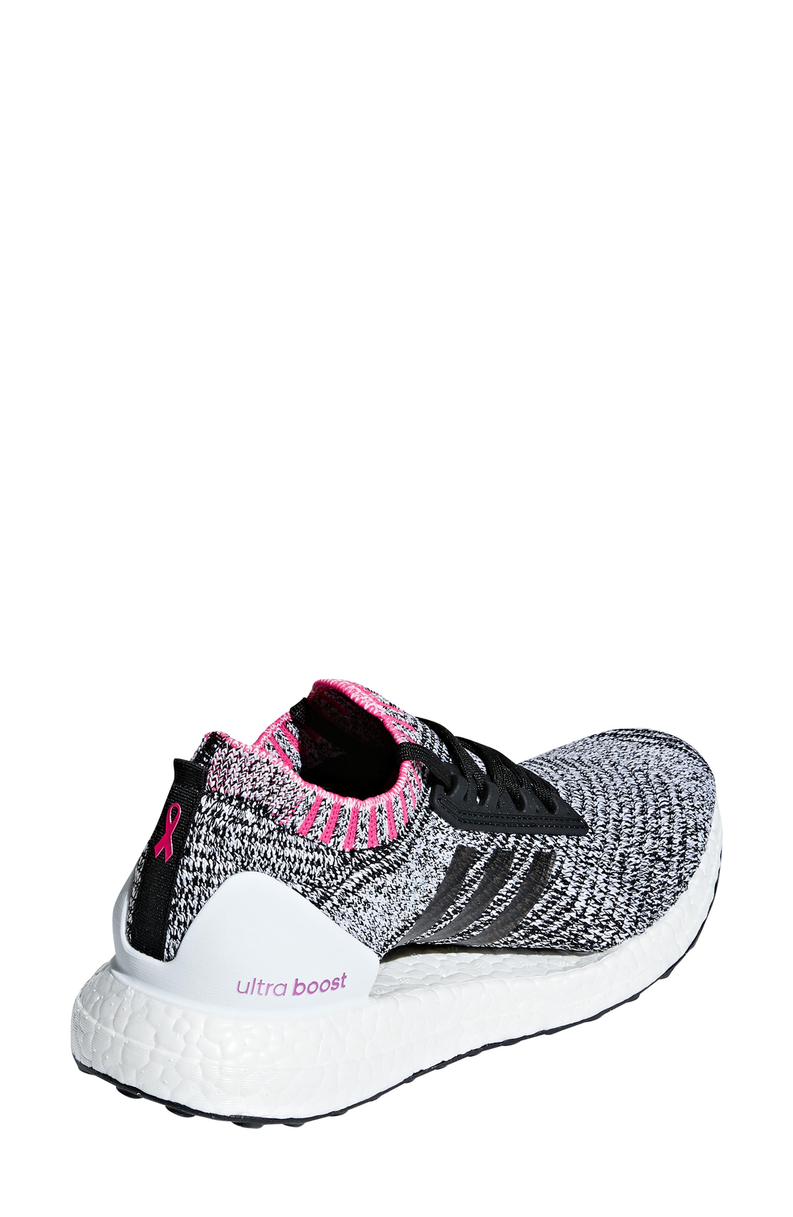 UltraBoost X Running Shoe,                             Alternate thumbnail 2, color,                             WHITE/ BLACK/ SHOCK PINK