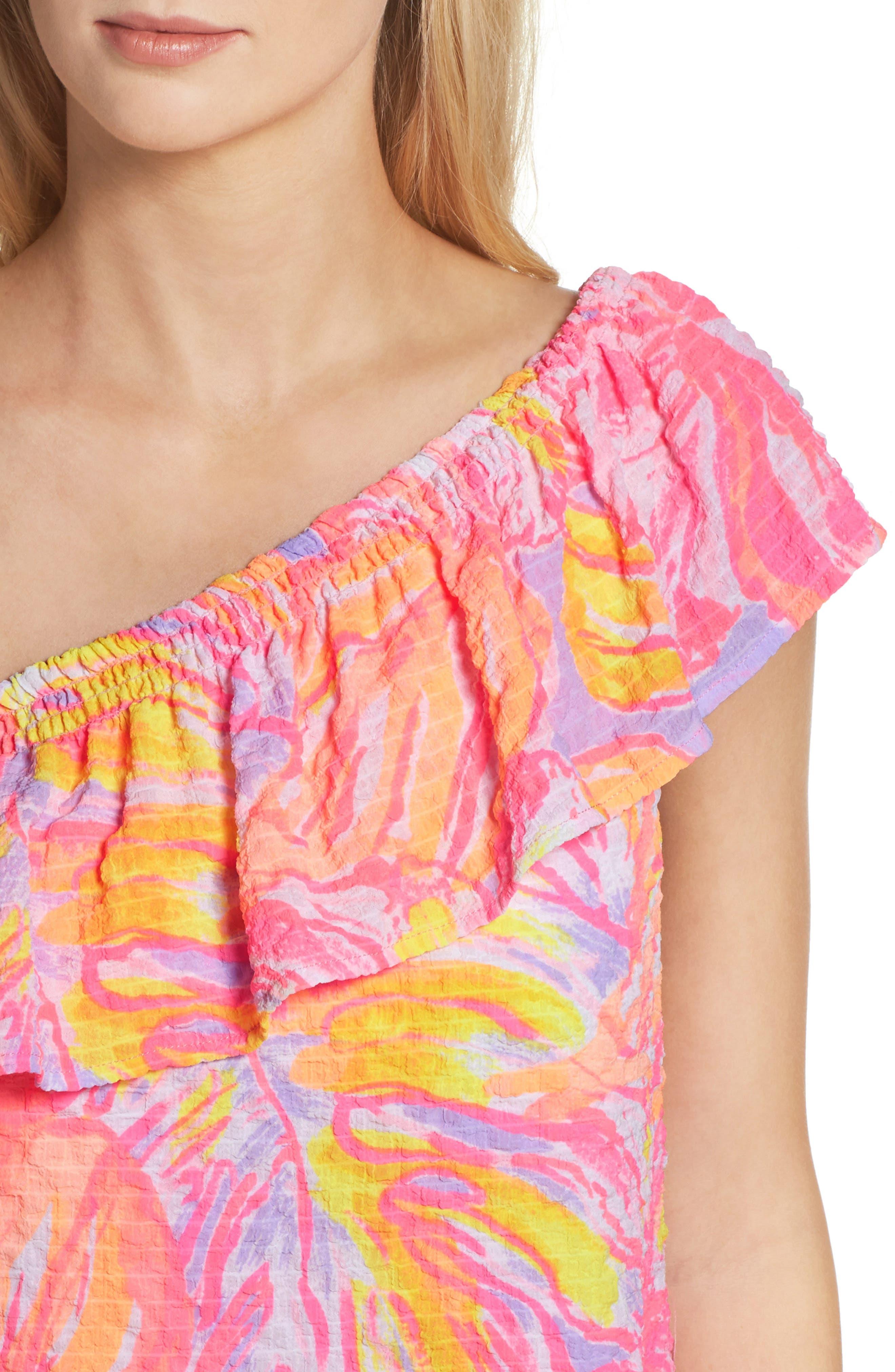 Emmeline One-Shoulder Dress,                             Alternate thumbnail 4, color,                             599