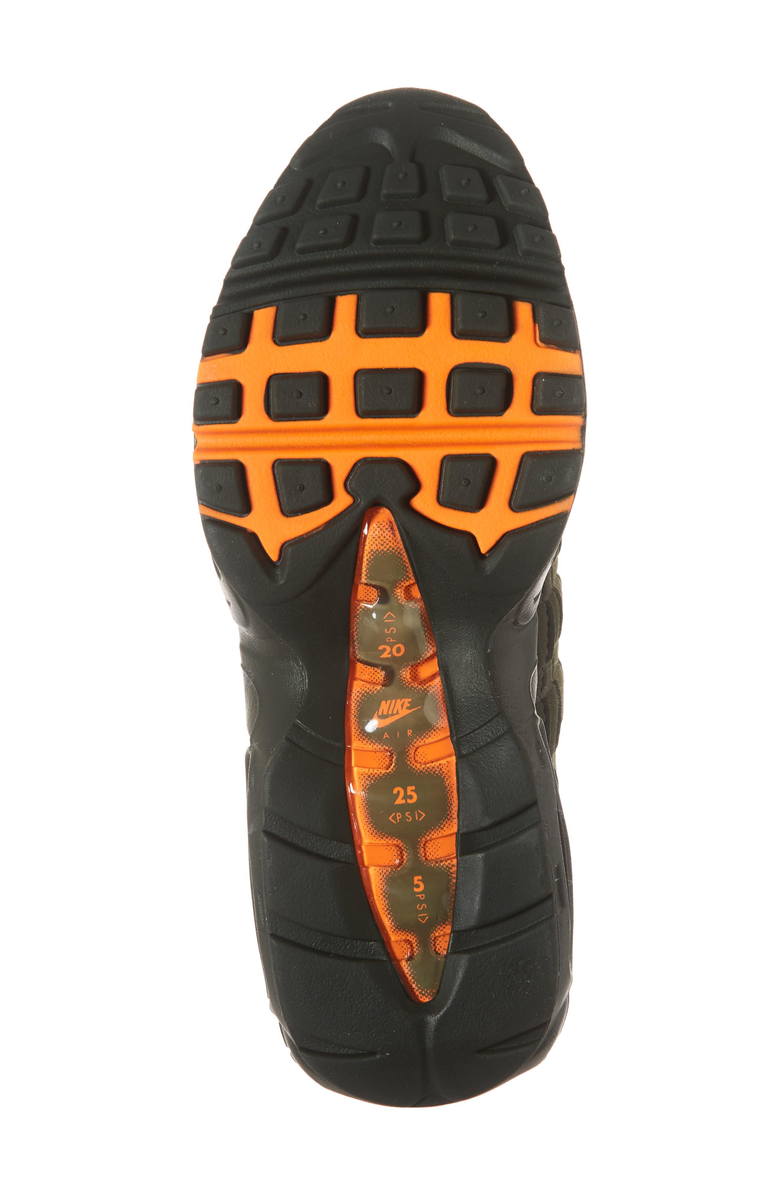 Air Max 95 OG Sneaker,                             Alternate thumbnail 6, color,                             STRING/ TOTAL ORANGE-NEUTRAL