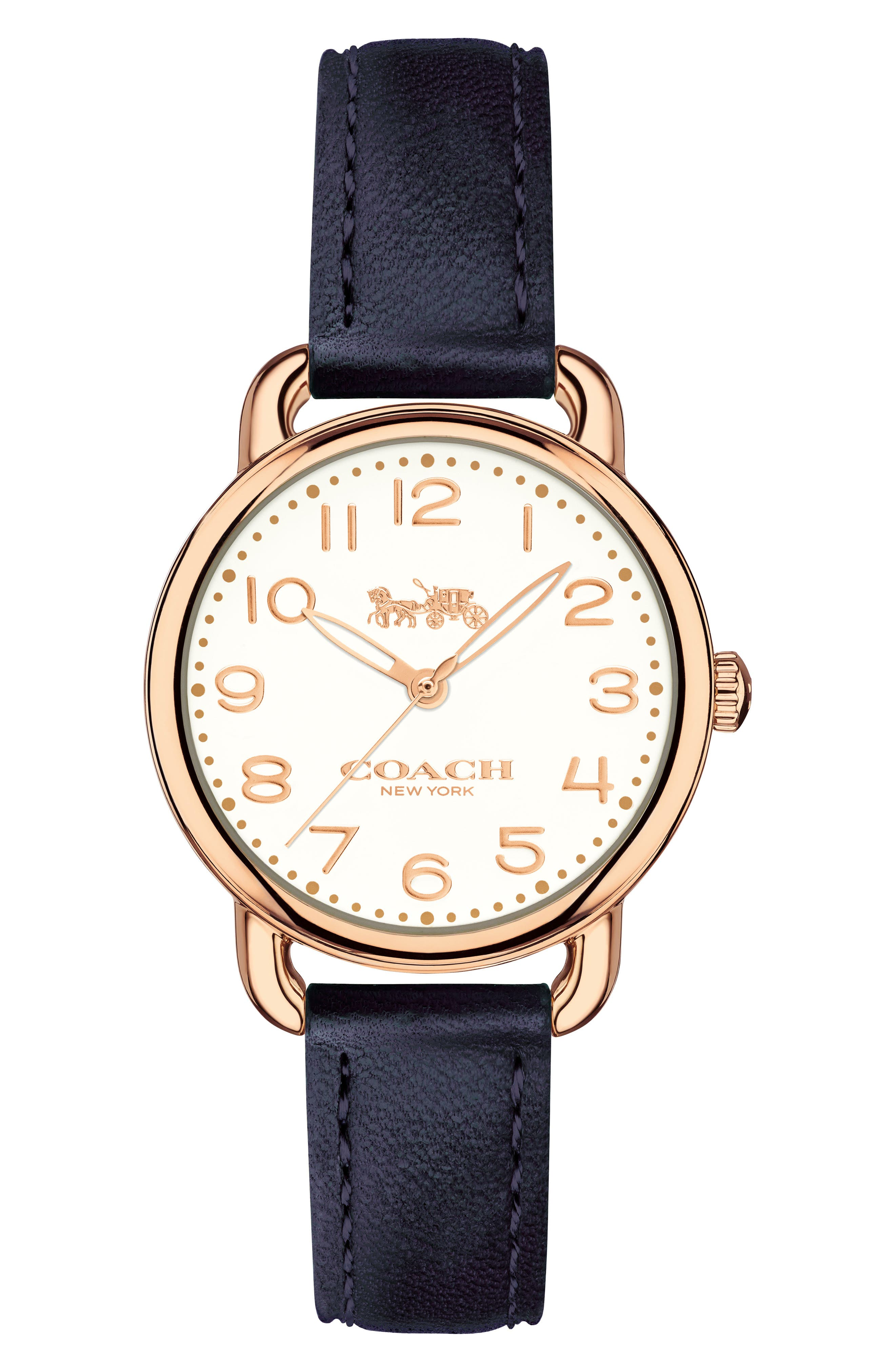Delancey Leather Strap Watch, 28mm,                         Main,                         color, NAVY/ CHALK/ ROSE GOLD