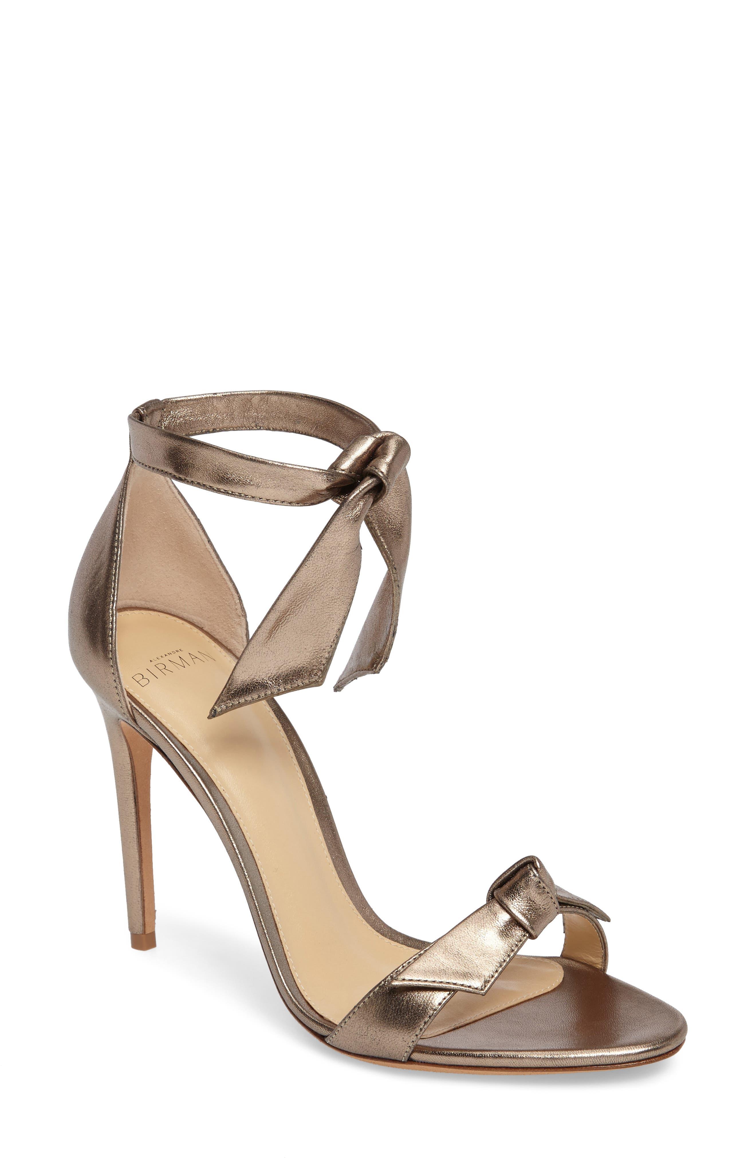 Clarita Ankle Tie Sandal,                             Main thumbnail 1, color,                             METALLIC GOLD LEATHER