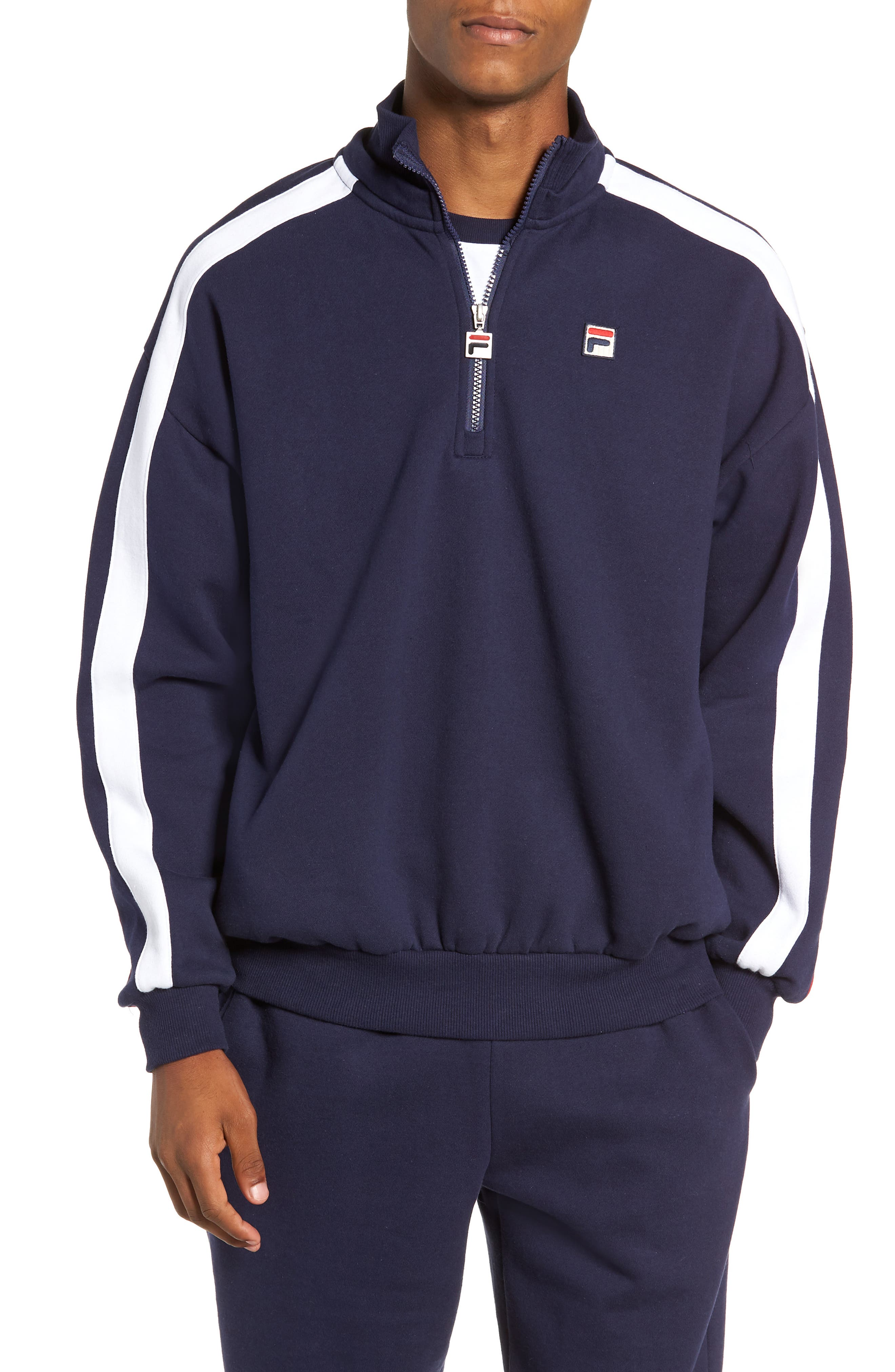 Quarter Zip Sweatshirt,                             Main thumbnail 1, color,                             PEACOAT/ WHITE/ CHINESE RED