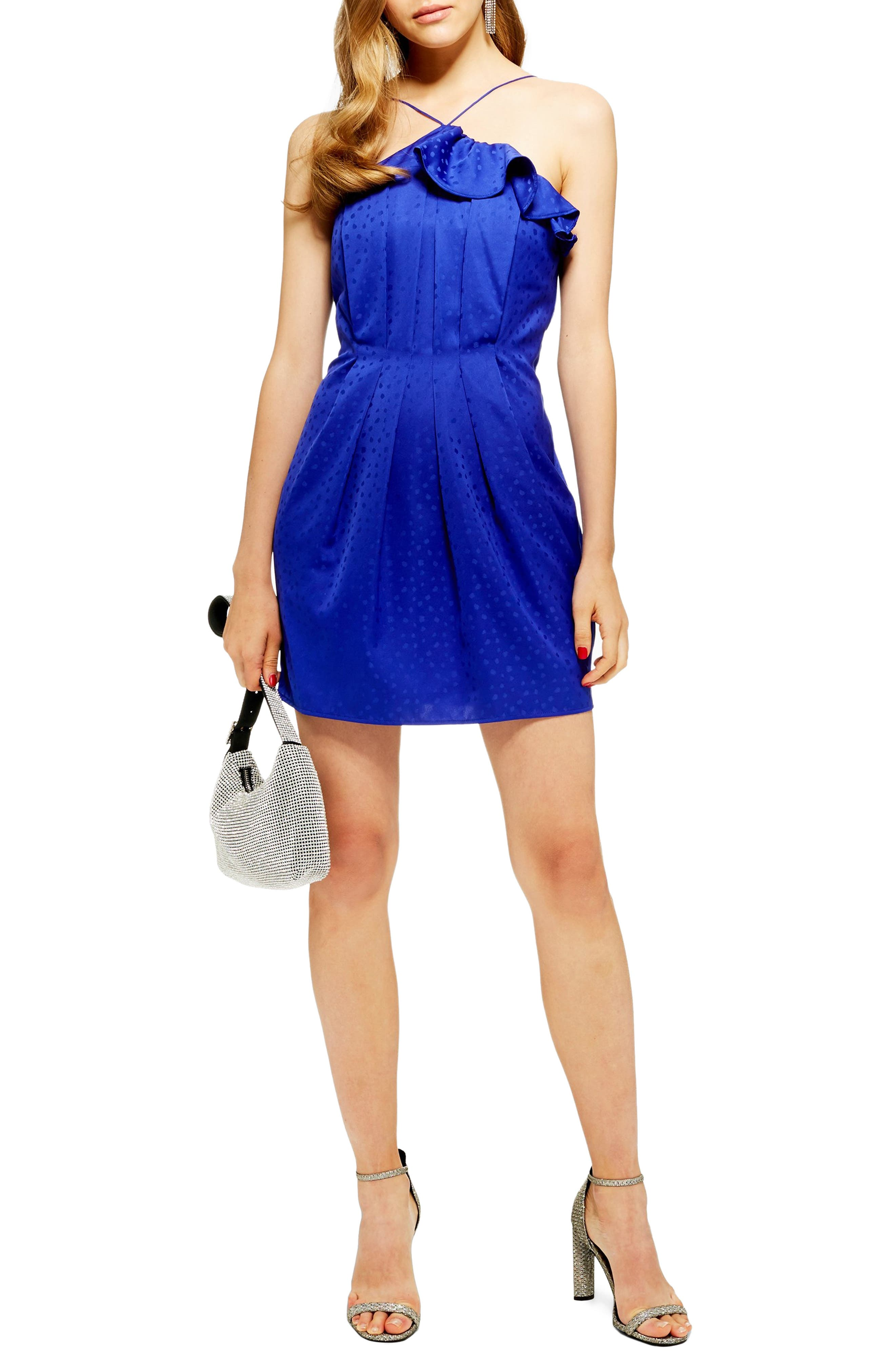 TOPSHOP Frill Jacquard Minidress, Main, color, 460