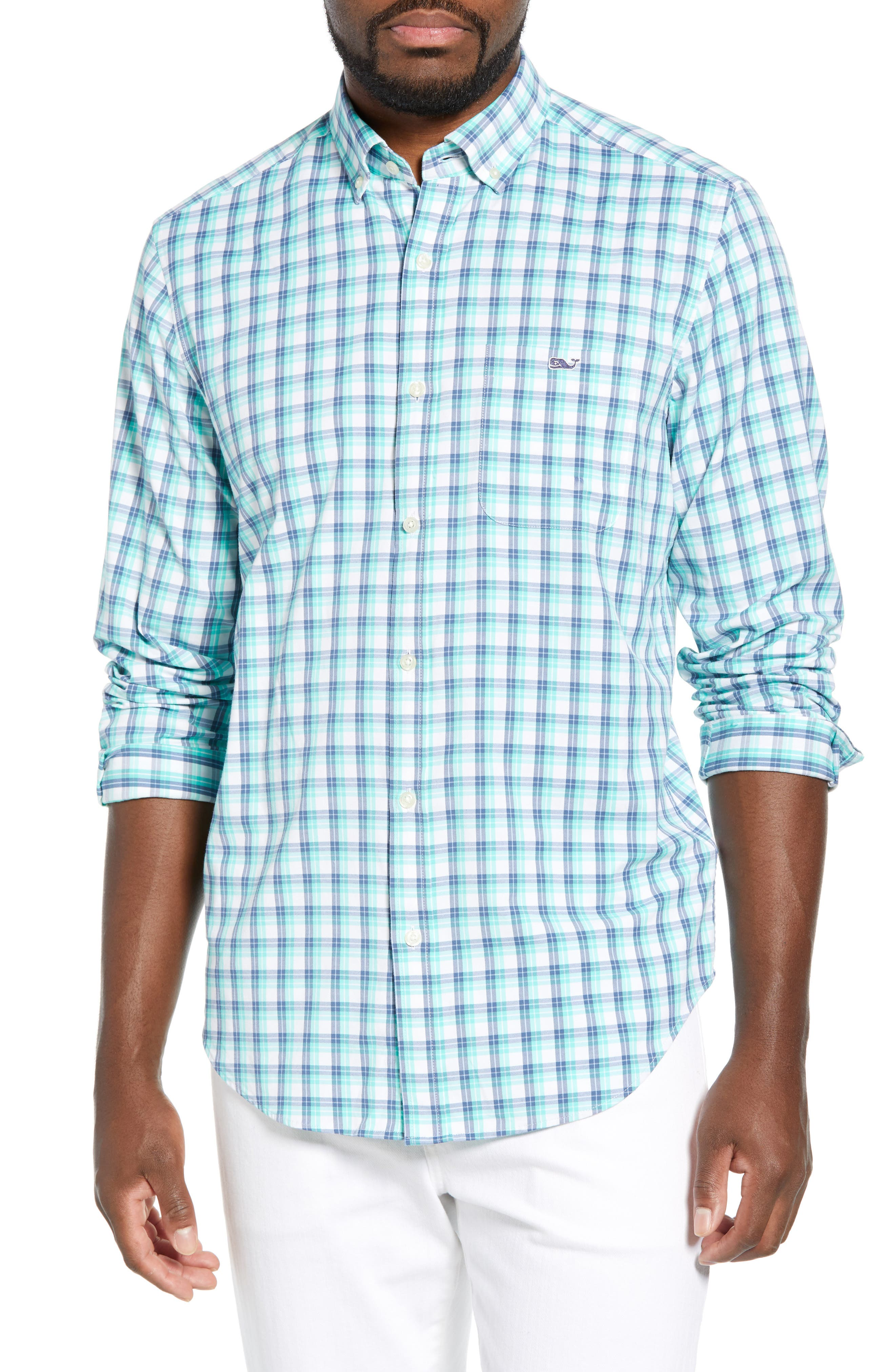 VINEYARD VINES South Street Tucker Slim Fit Sport Shirt, Main, color, CAPRI BLUE