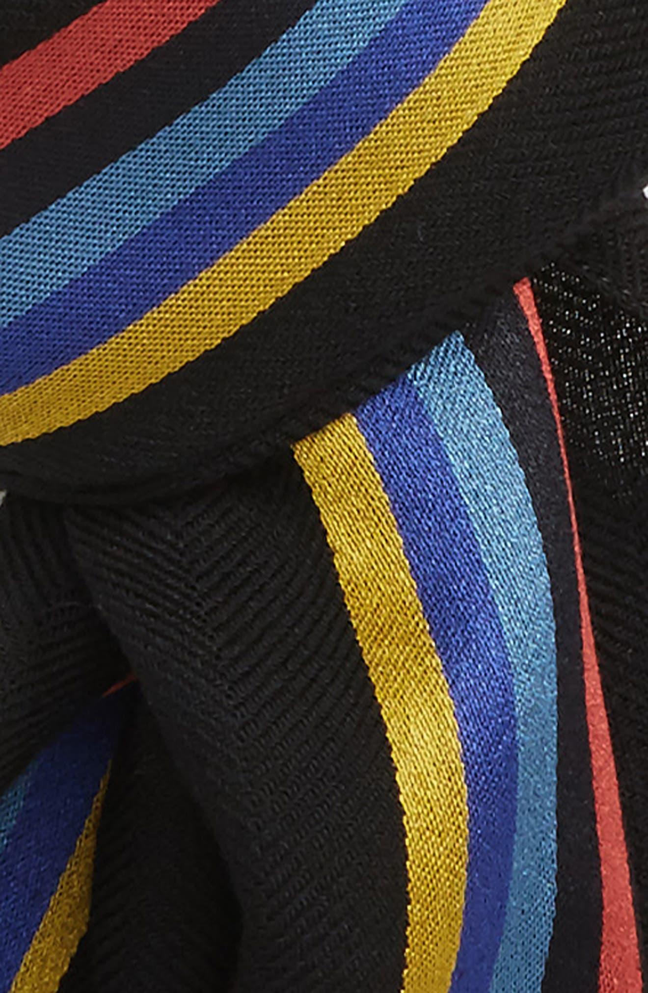 Stripe Wool Blend Scarf,                             Alternate thumbnail 3, color,                             001