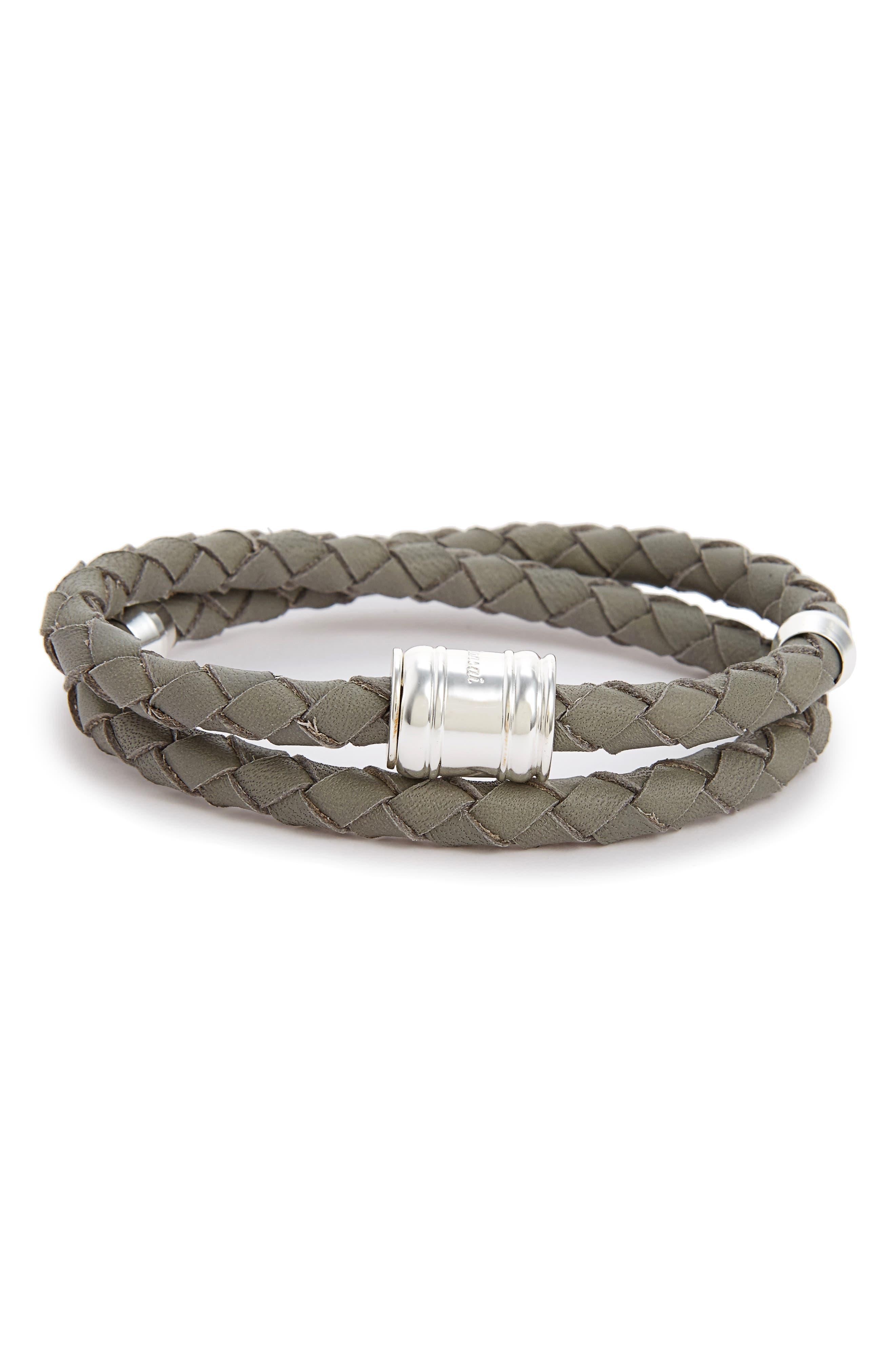 Braided Leather Bracelet,                             Alternate thumbnail 12, color,