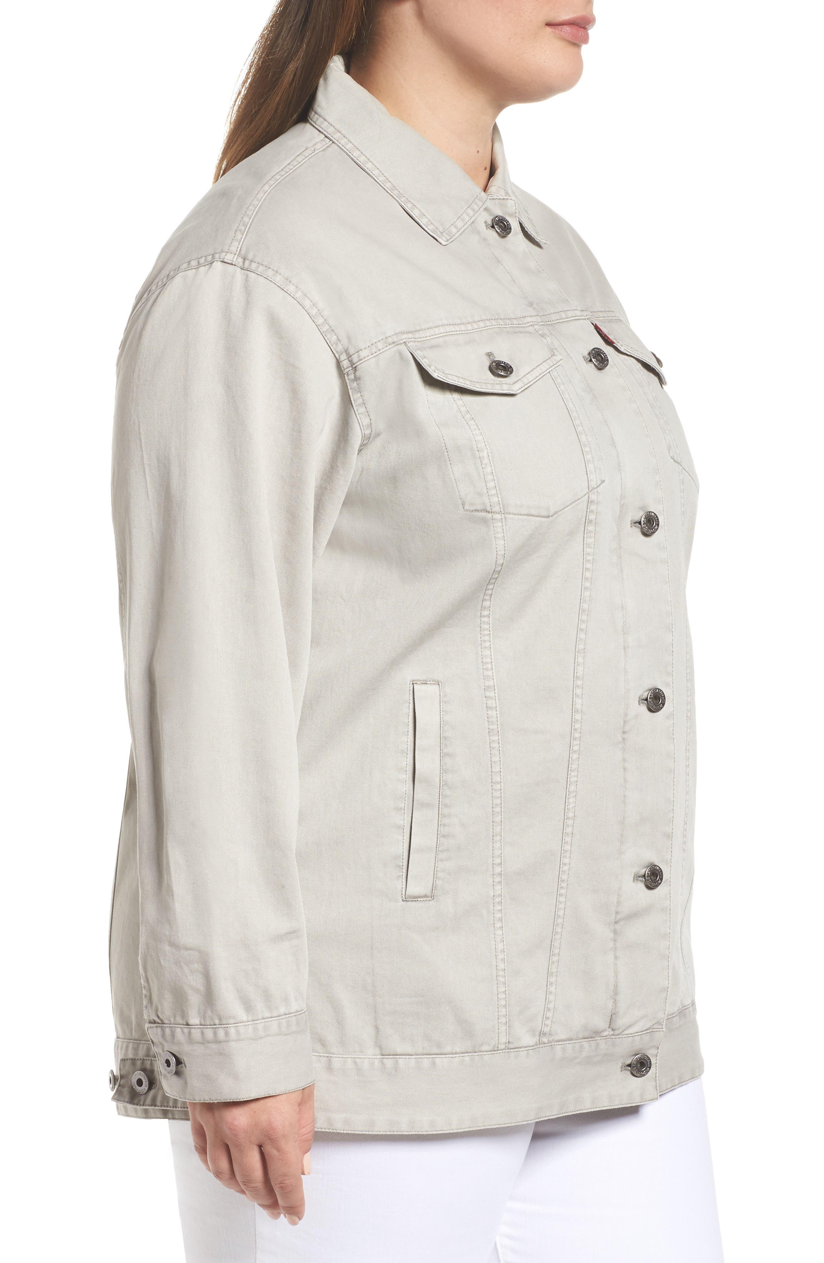 Oversize Cotton Canvas Trucker Jacket,                             Alternate thumbnail 3, color,                             030