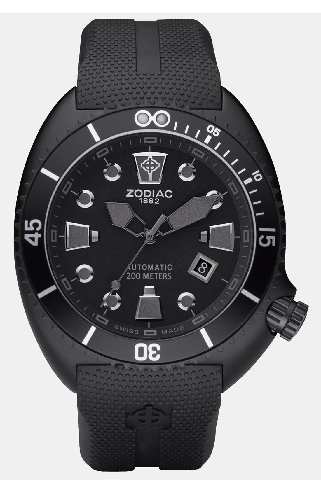 ZODIAC 'Oceanaire' Automatic Rubber Strap Watch, 45mm, Main, color, 001