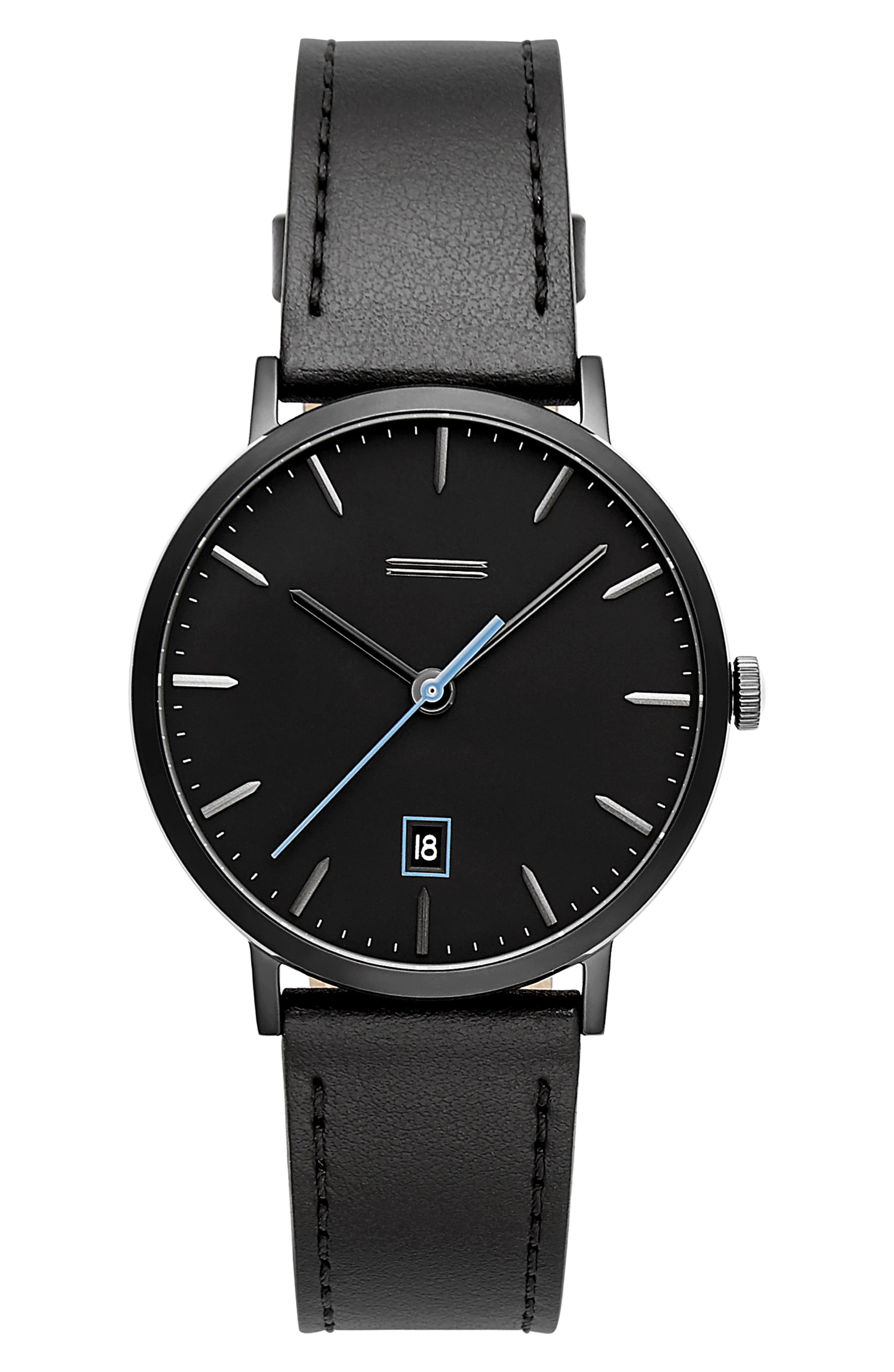 Norrebro Leather Watch, 40mm,                         Main,                         color, BLACK