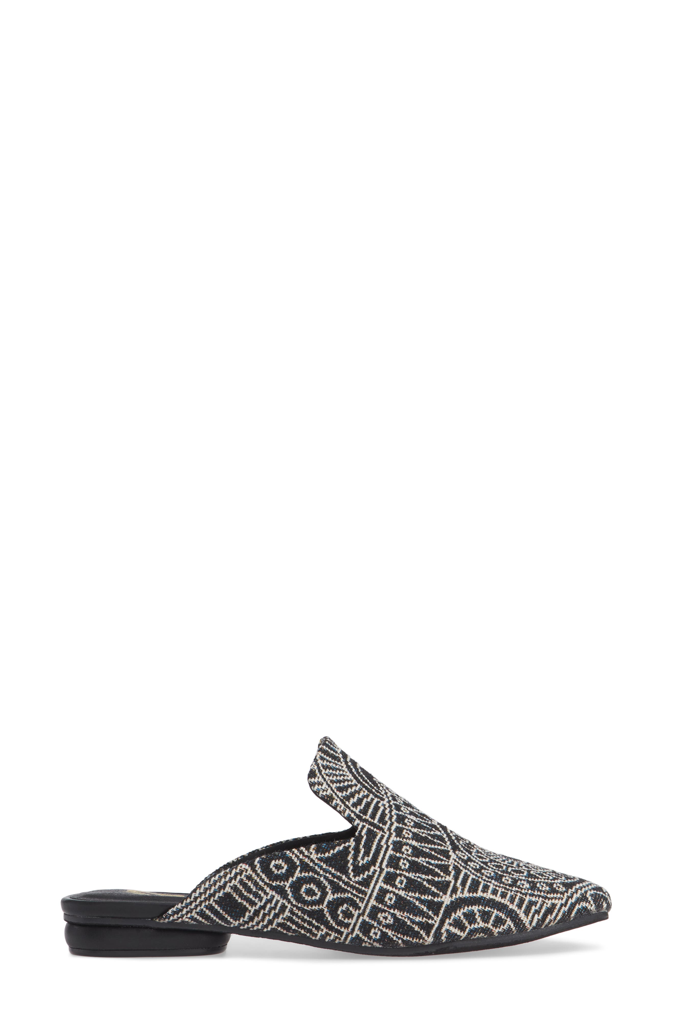 Brienne Loafer Mule,                             Alternate thumbnail 3, color,                             BLACK/ WHITE FABRIC